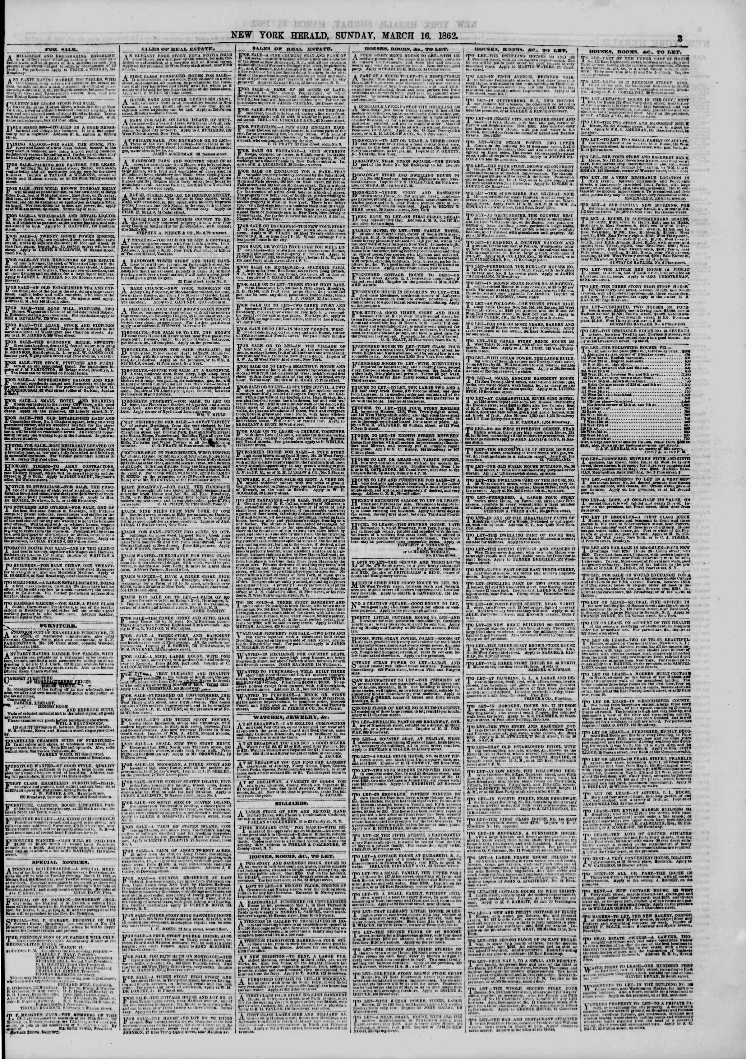 Newspaper of The New York Herald dated March 16, 1862 Page 3