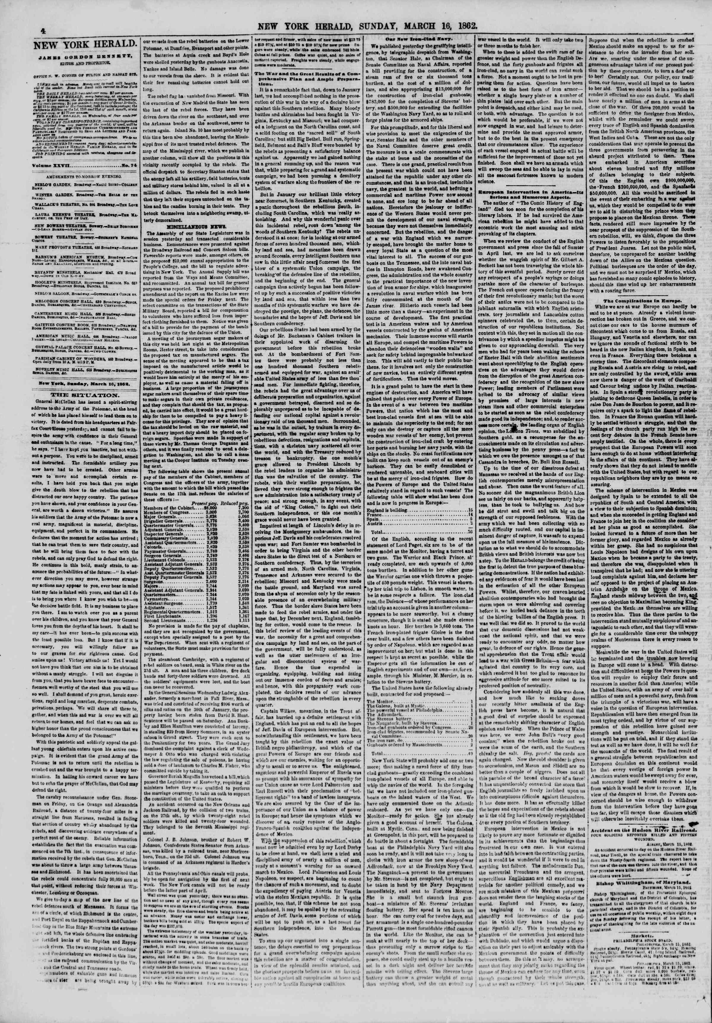 Newspaper of The New York Herald dated March 16, 1862 Page 4