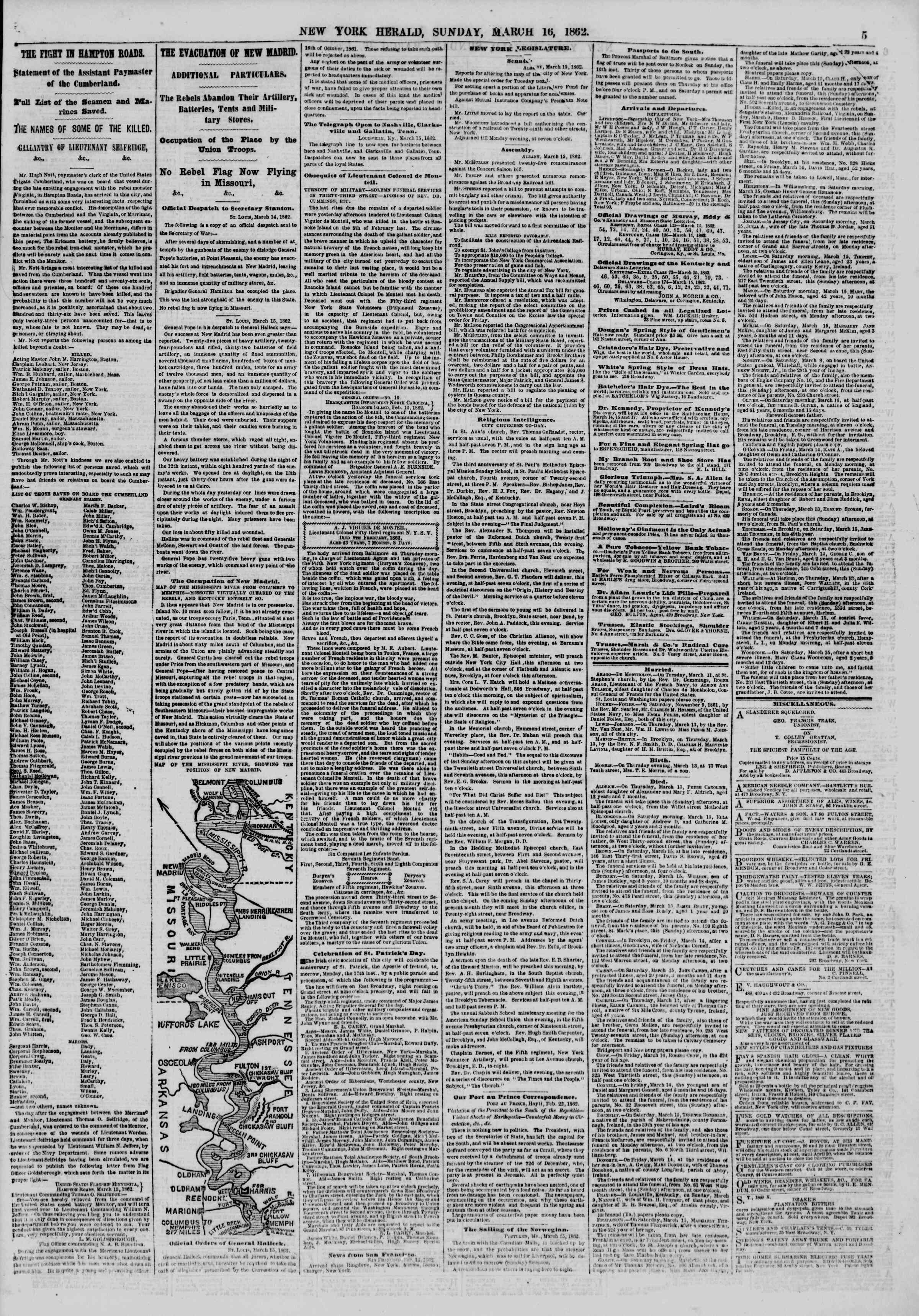 Newspaper of The New York Herald dated March 16, 1862 Page 5