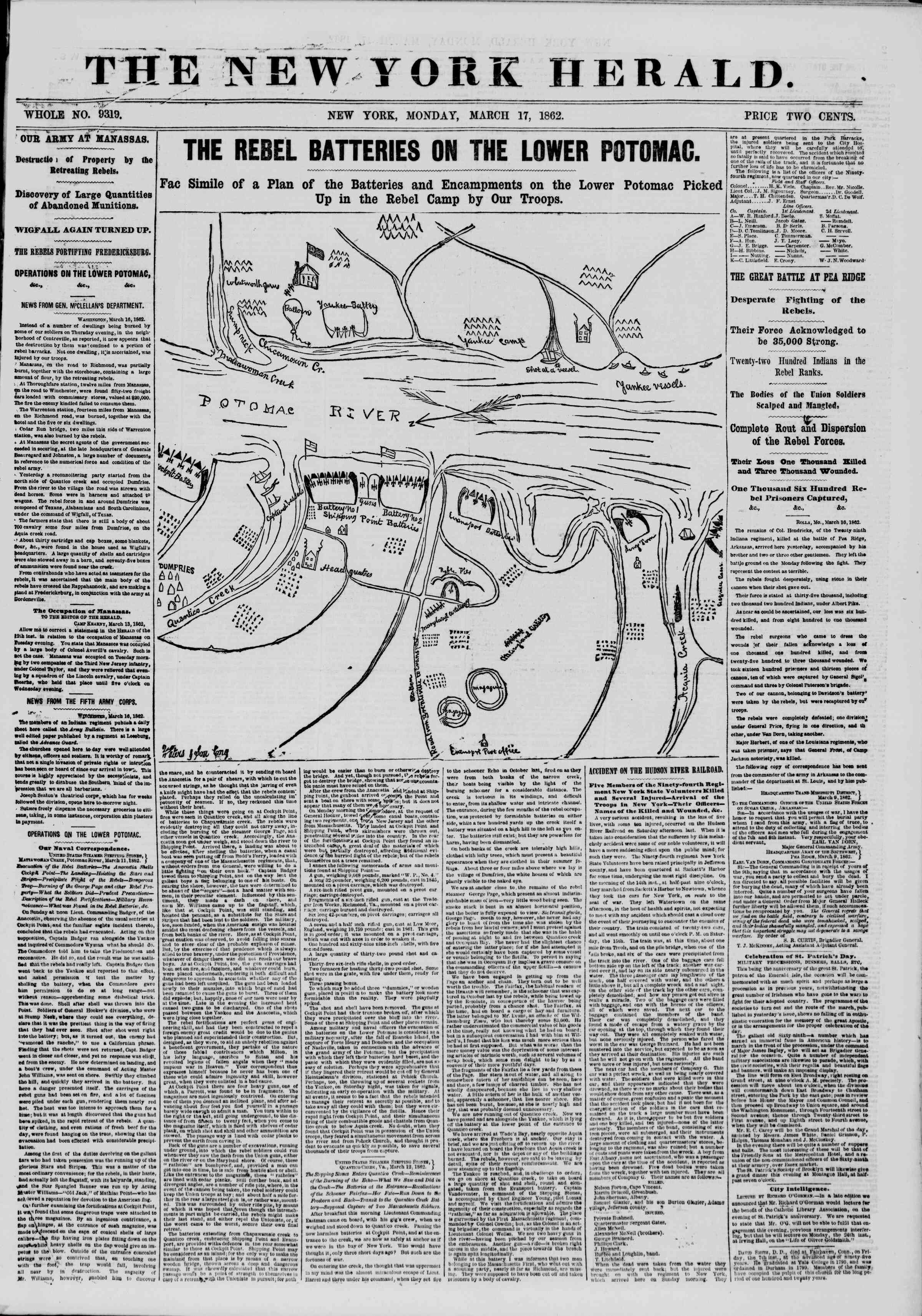 Newspaper of The New York Herald dated March 17, 1862 Page 1