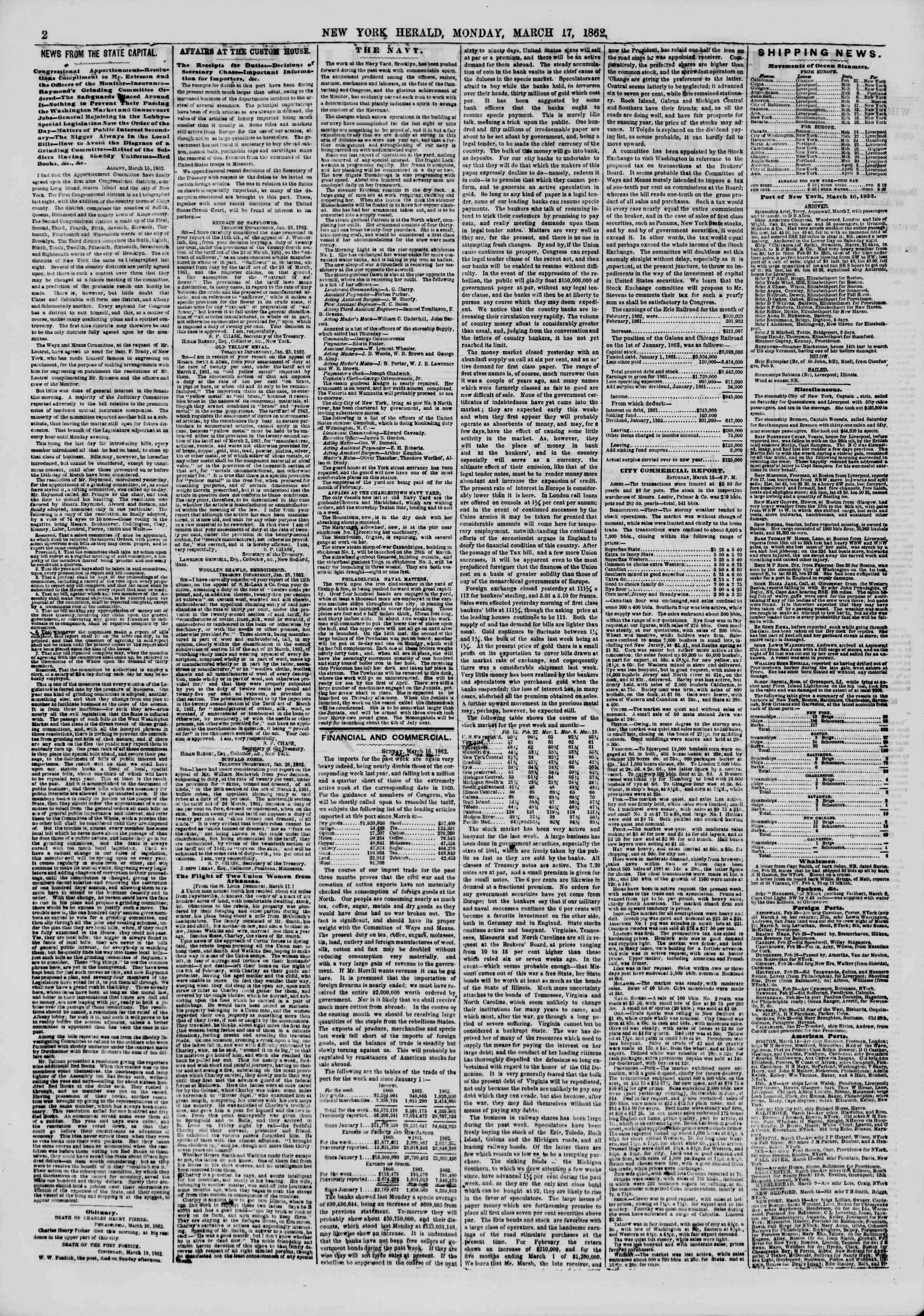 Newspaper of The New York Herald dated March 17, 1862 Page 2