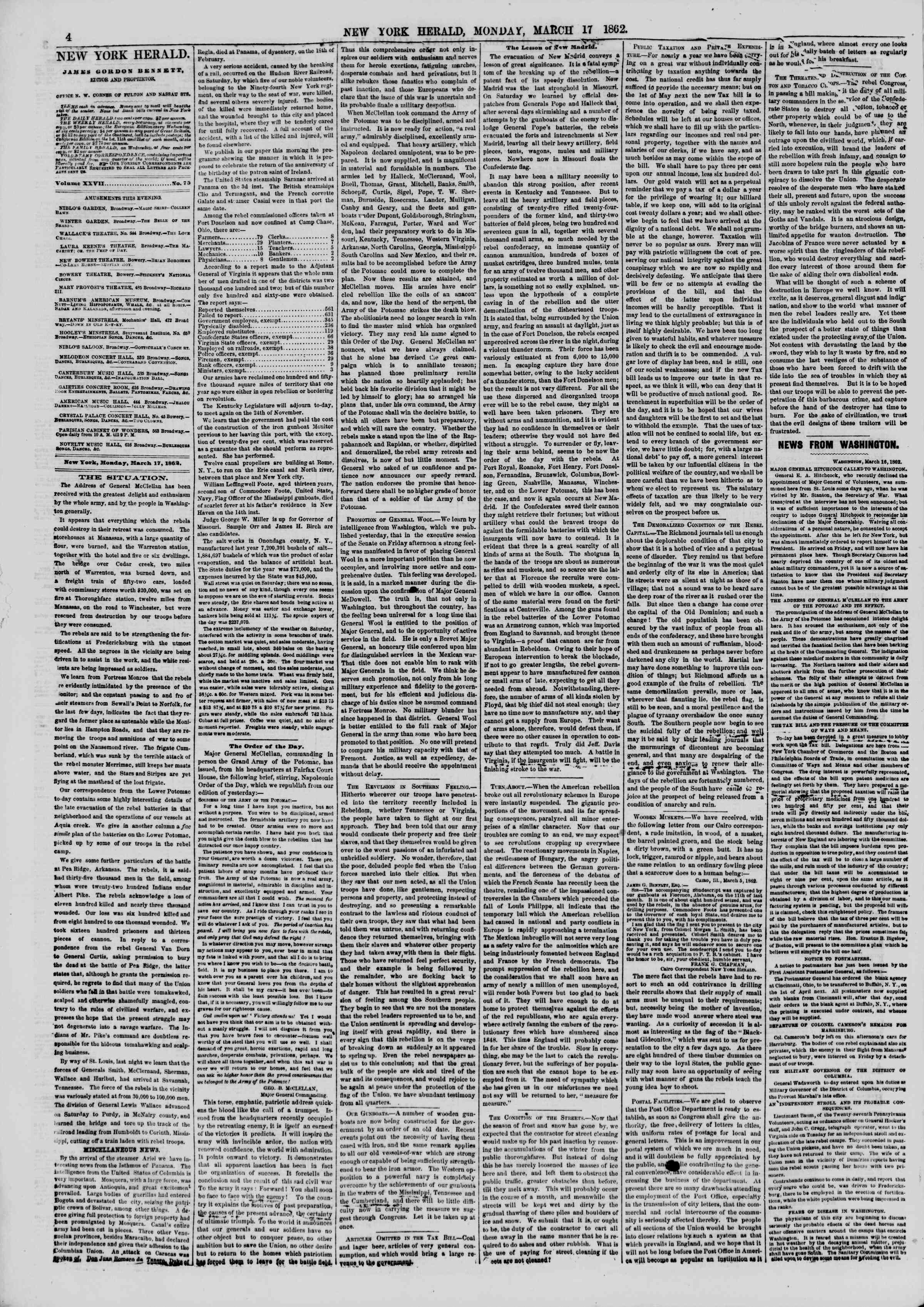 Newspaper of The New York Herald dated March 17, 1862 Page 4