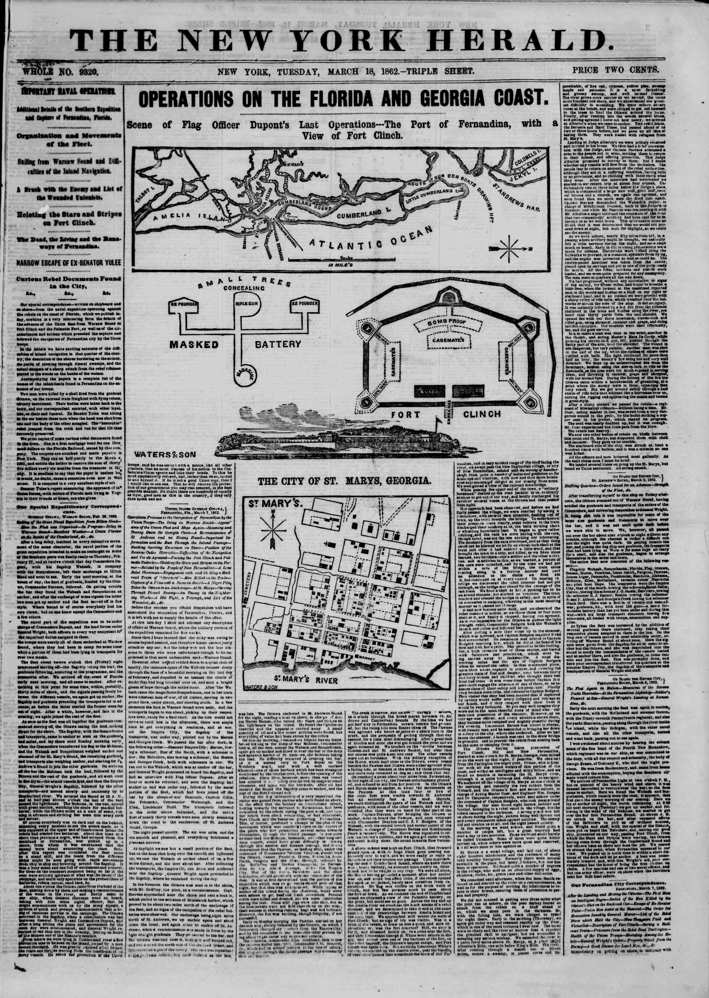 Newspaper of The New York Herald dated March 18, 1862 Page 1