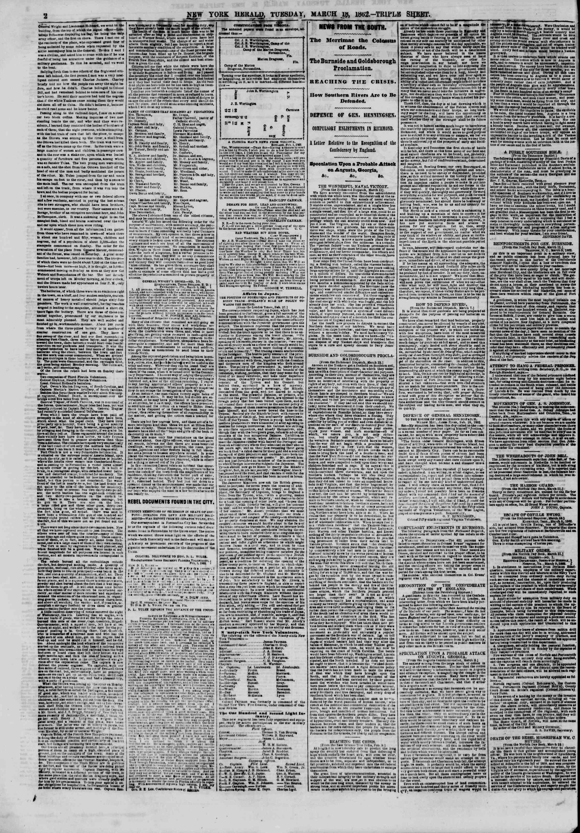 Newspaper of The New York Herald dated March 18, 1862 Page 2