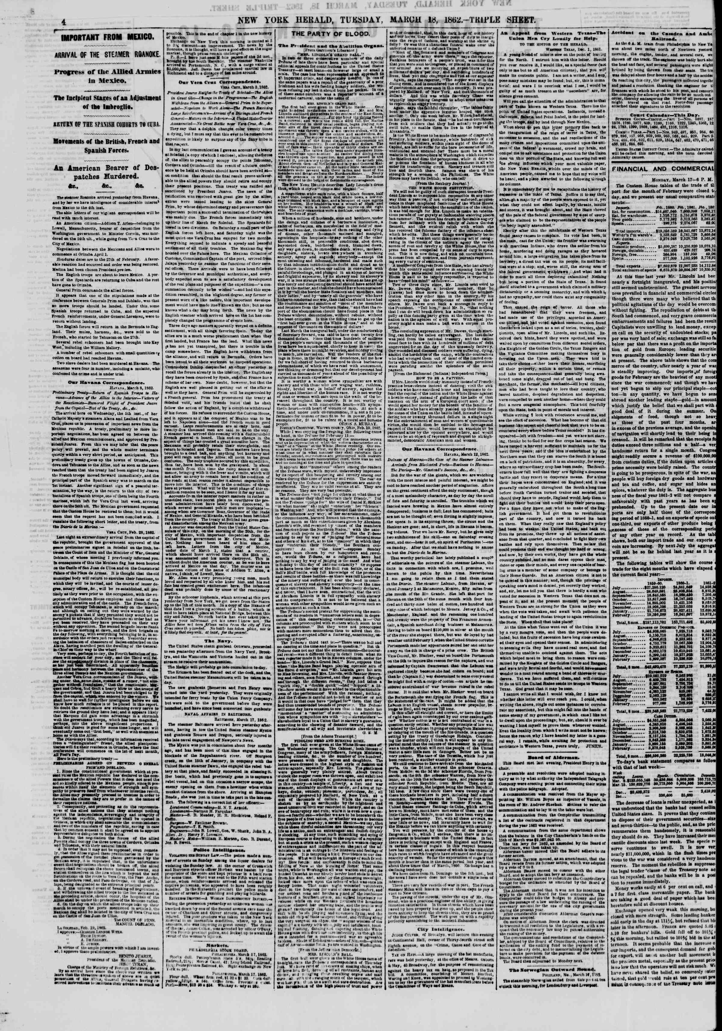 Newspaper of The New York Herald dated March 18, 1862 Page 4