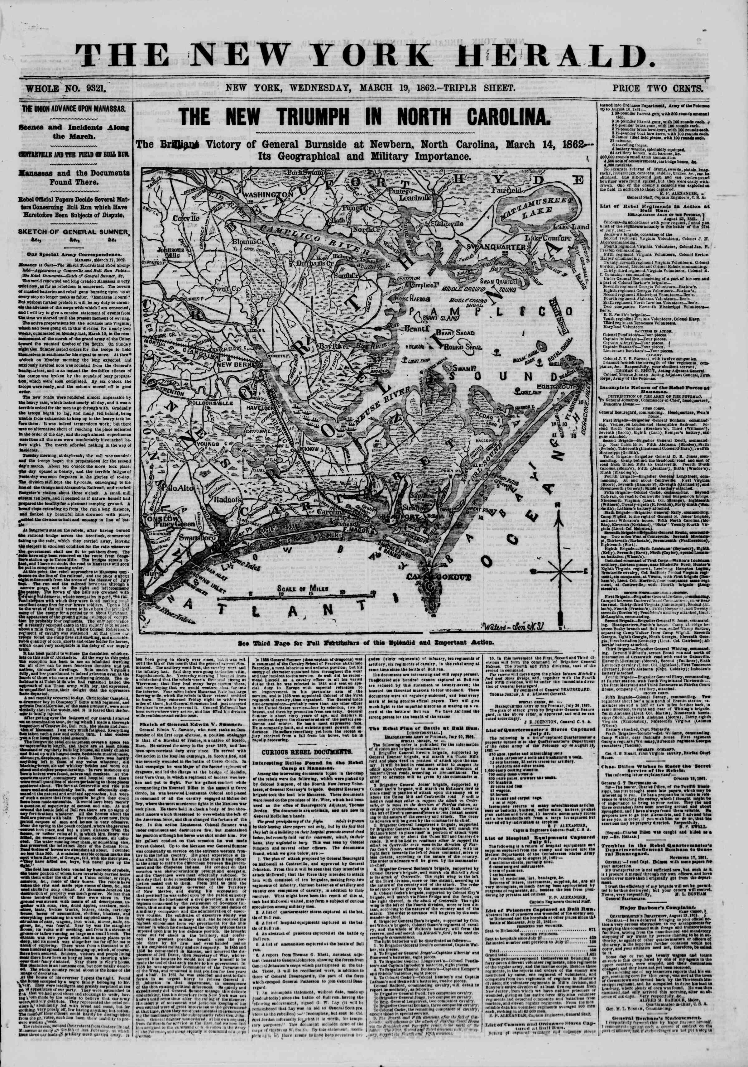 19 Mart 1862 tarihli The New York Herald Gazetesi Sayfa 1