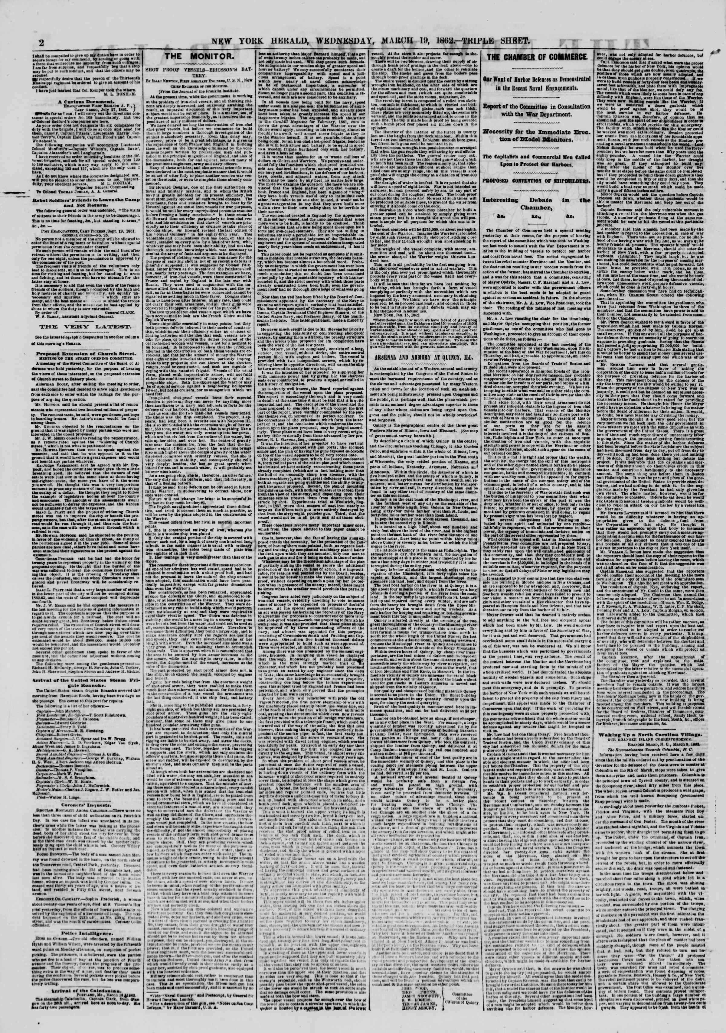 Newspaper of The New York Herald dated March 19, 1862 Page 2