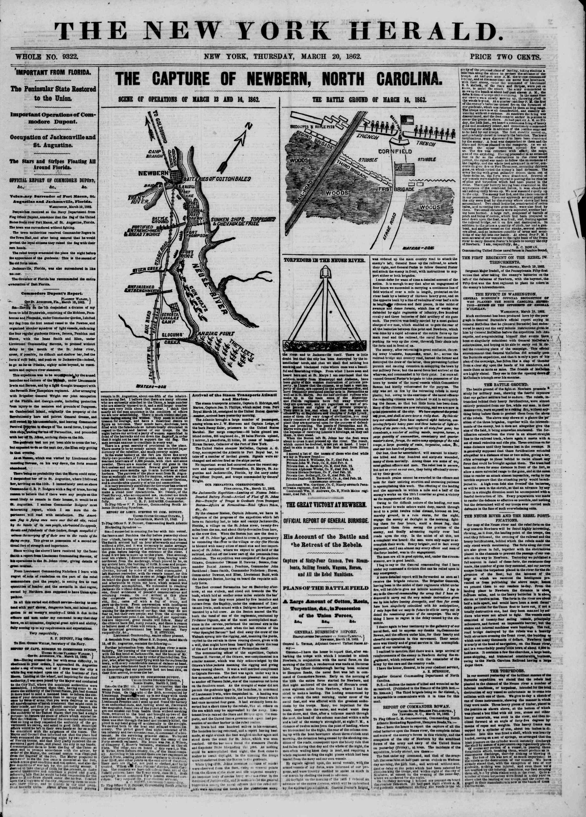 Newspaper of The New York Herald dated March 20, 1862 Page 1