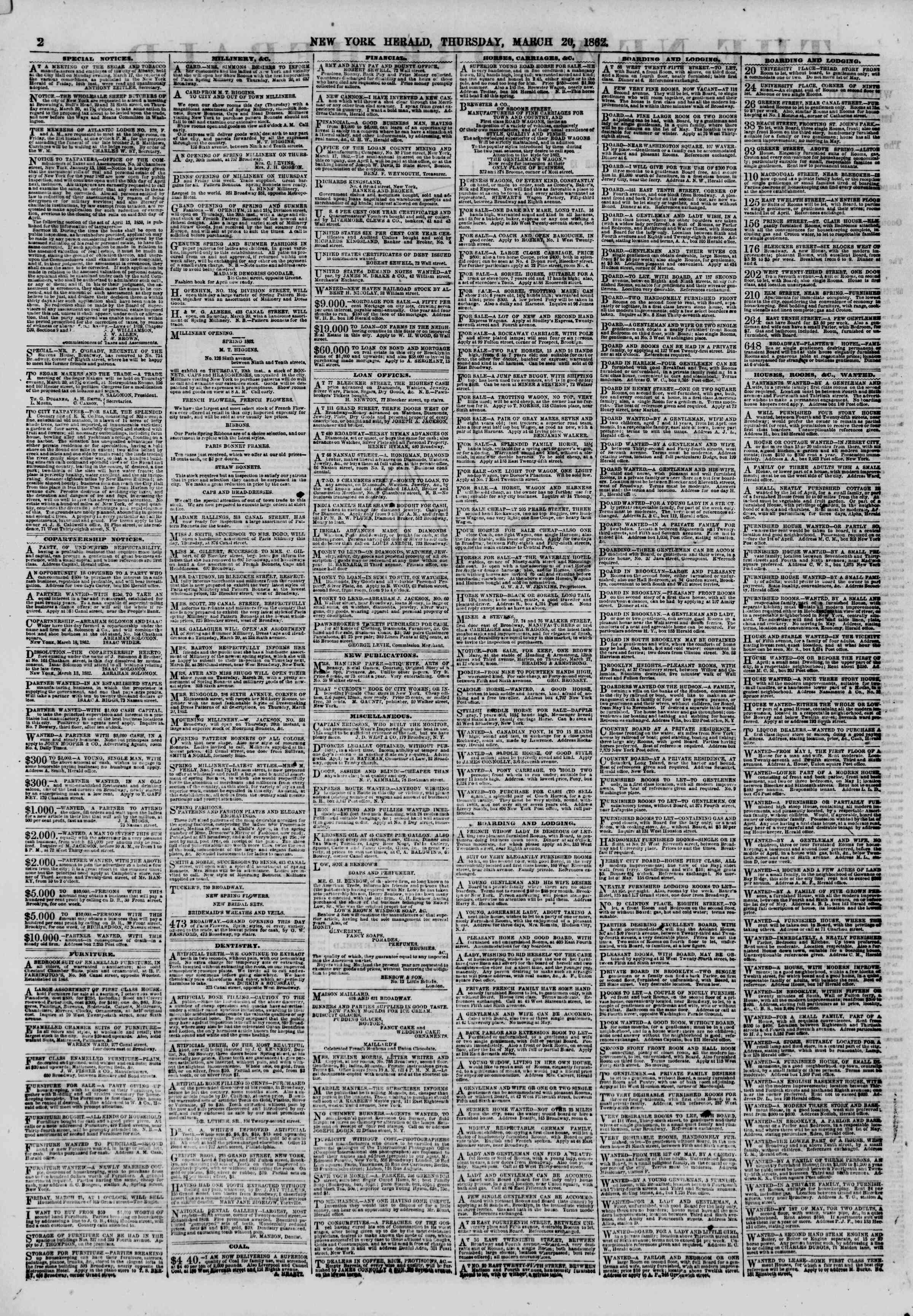 Newspaper of The New York Herald dated March 20, 1862 Page 2