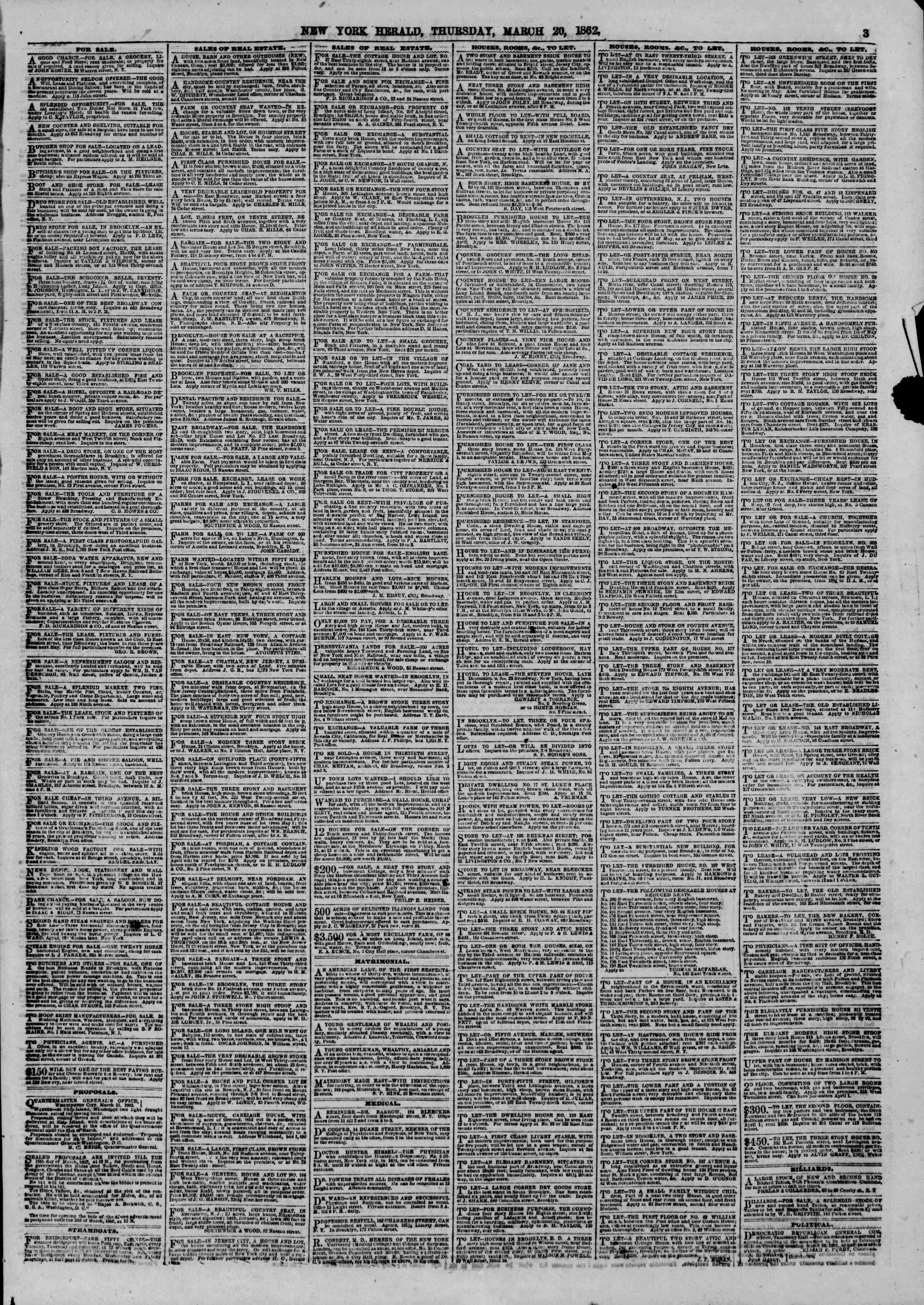 Newspaper of The New York Herald dated March 20, 1862 Page 3
