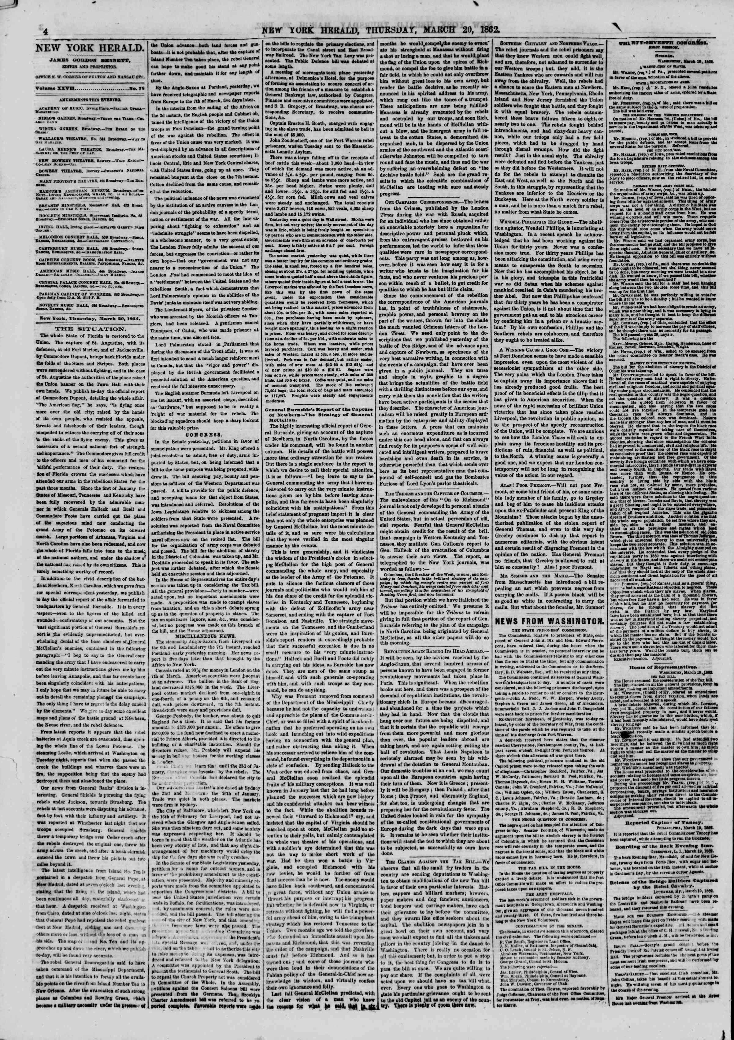 Newspaper of The New York Herald dated 20 Mart 1862 Page 4