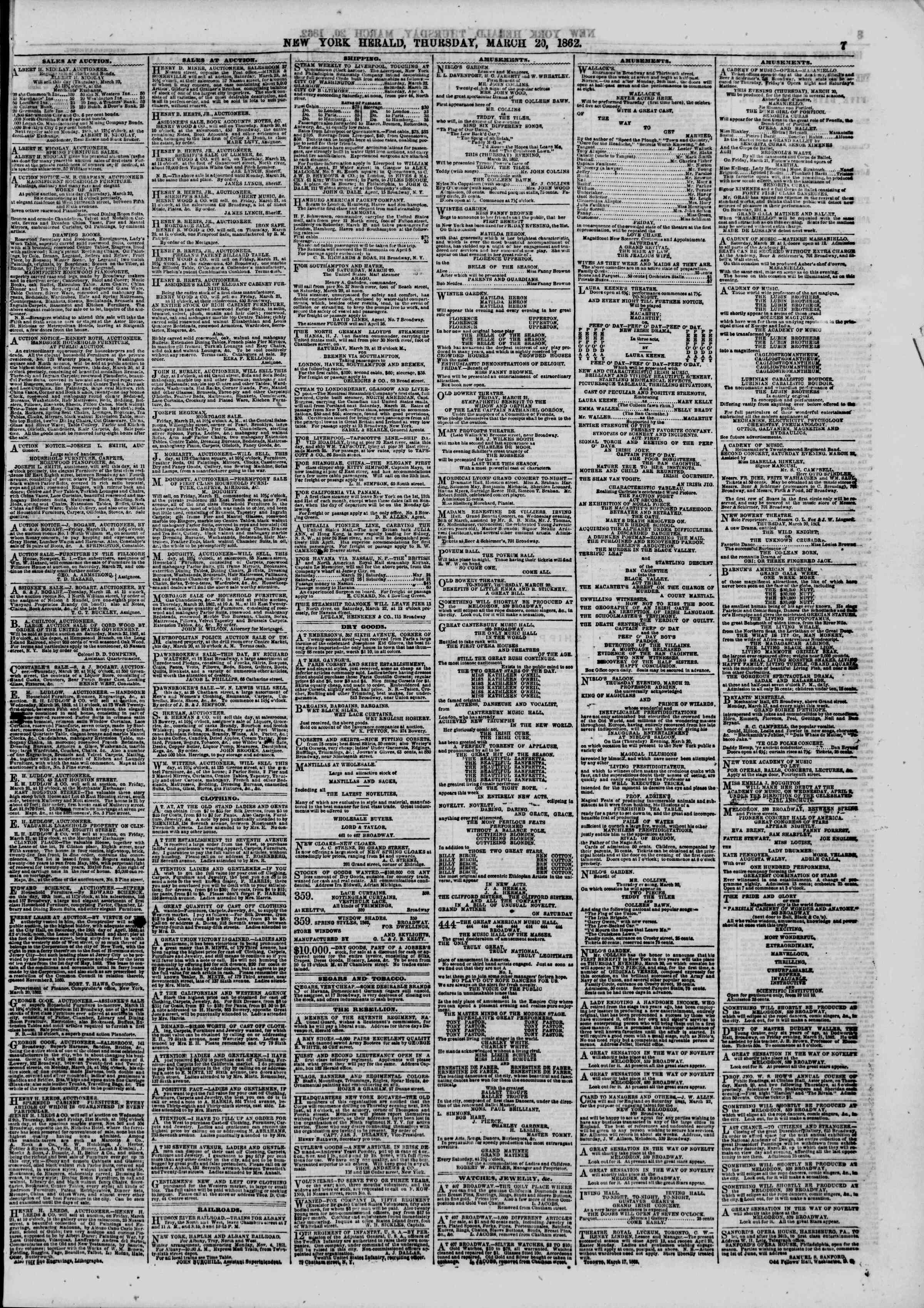 Newspaper of The New York Herald dated March 20, 1862 Page 7