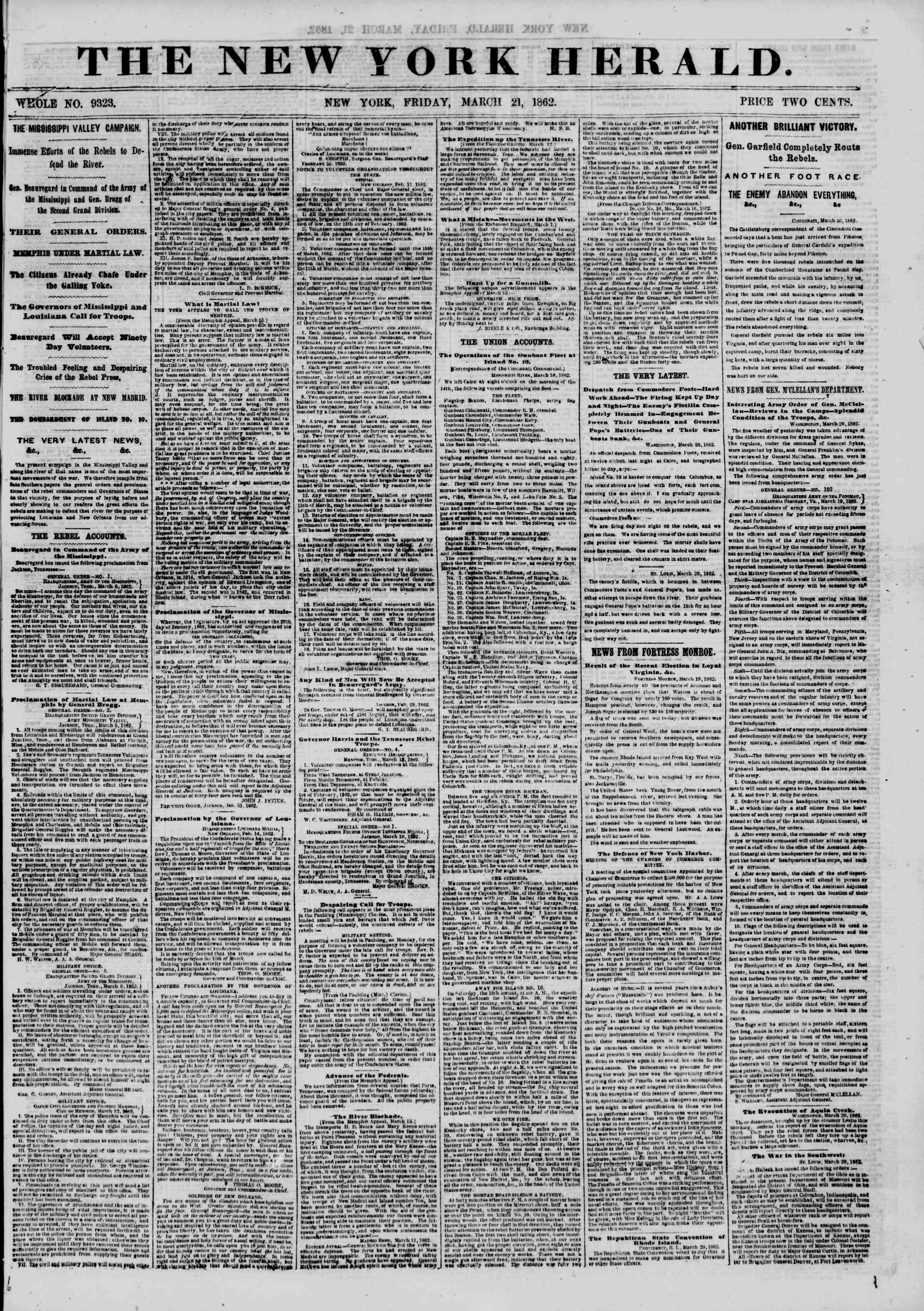 21 Mart 1862 tarihli The New York Herald Gazetesi Sayfa 1
