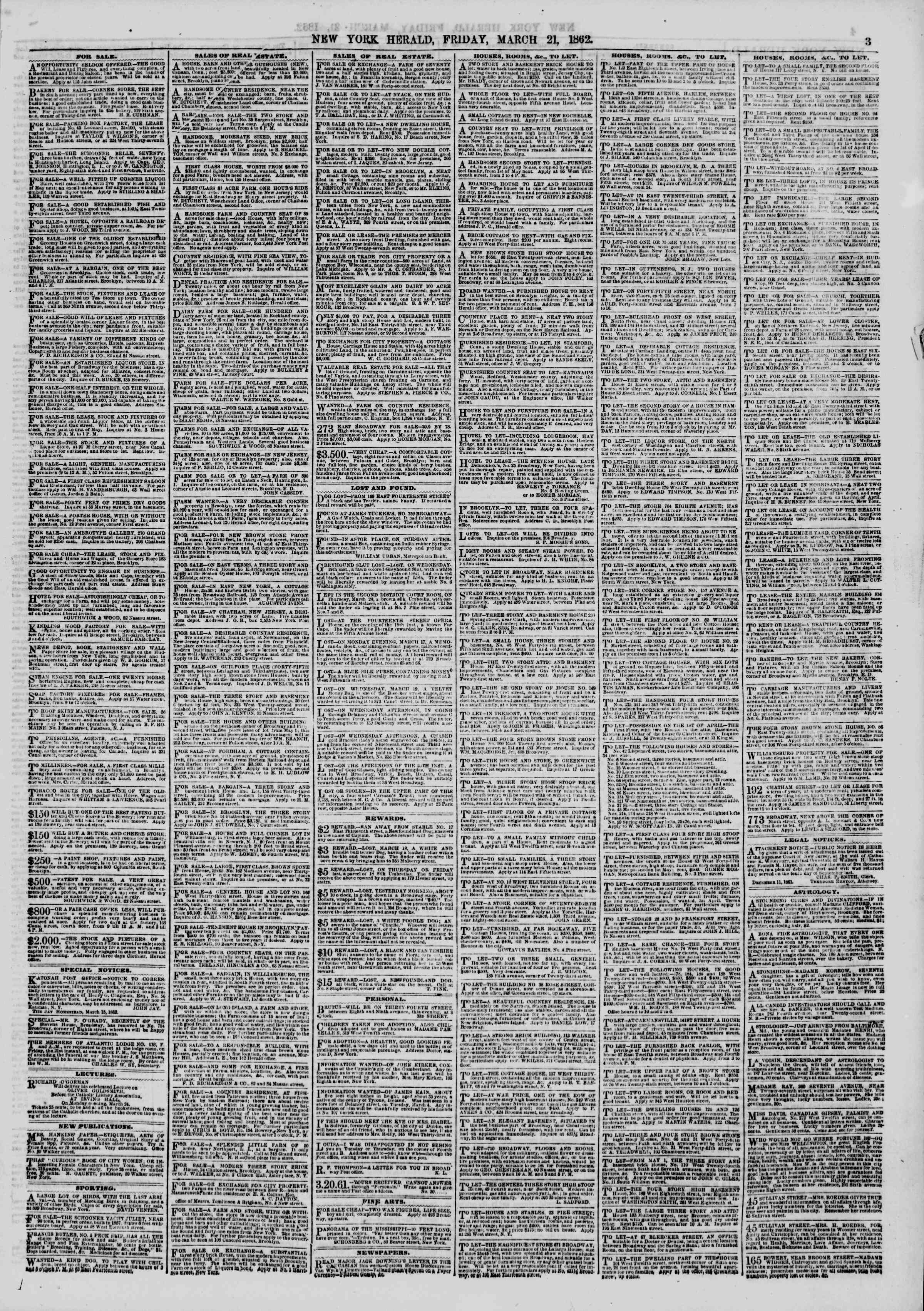 Newspaper of The New York Herald dated March 21, 1862 Page 3
