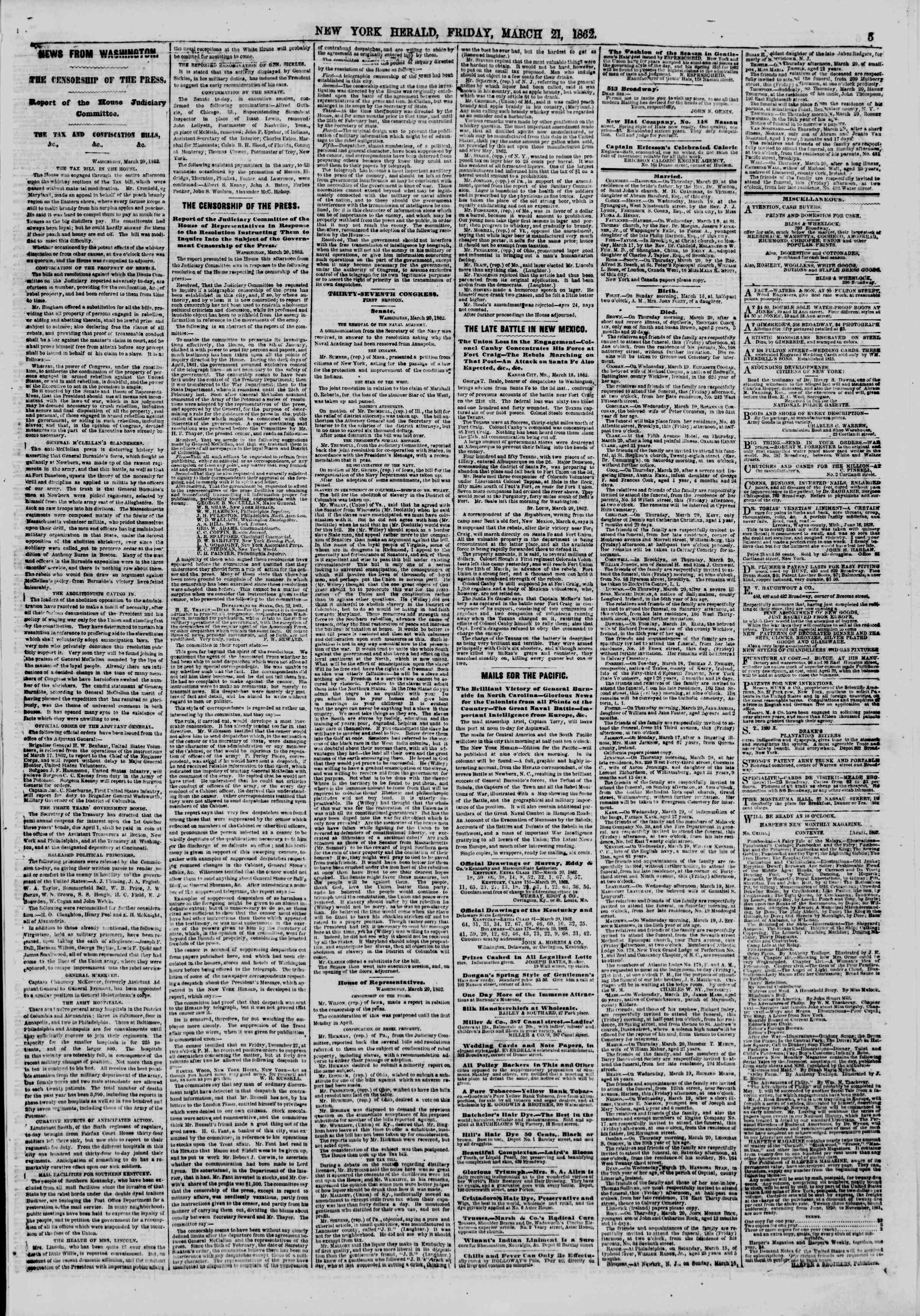 Newspaper of The New York Herald dated March 21, 1862 Page 5