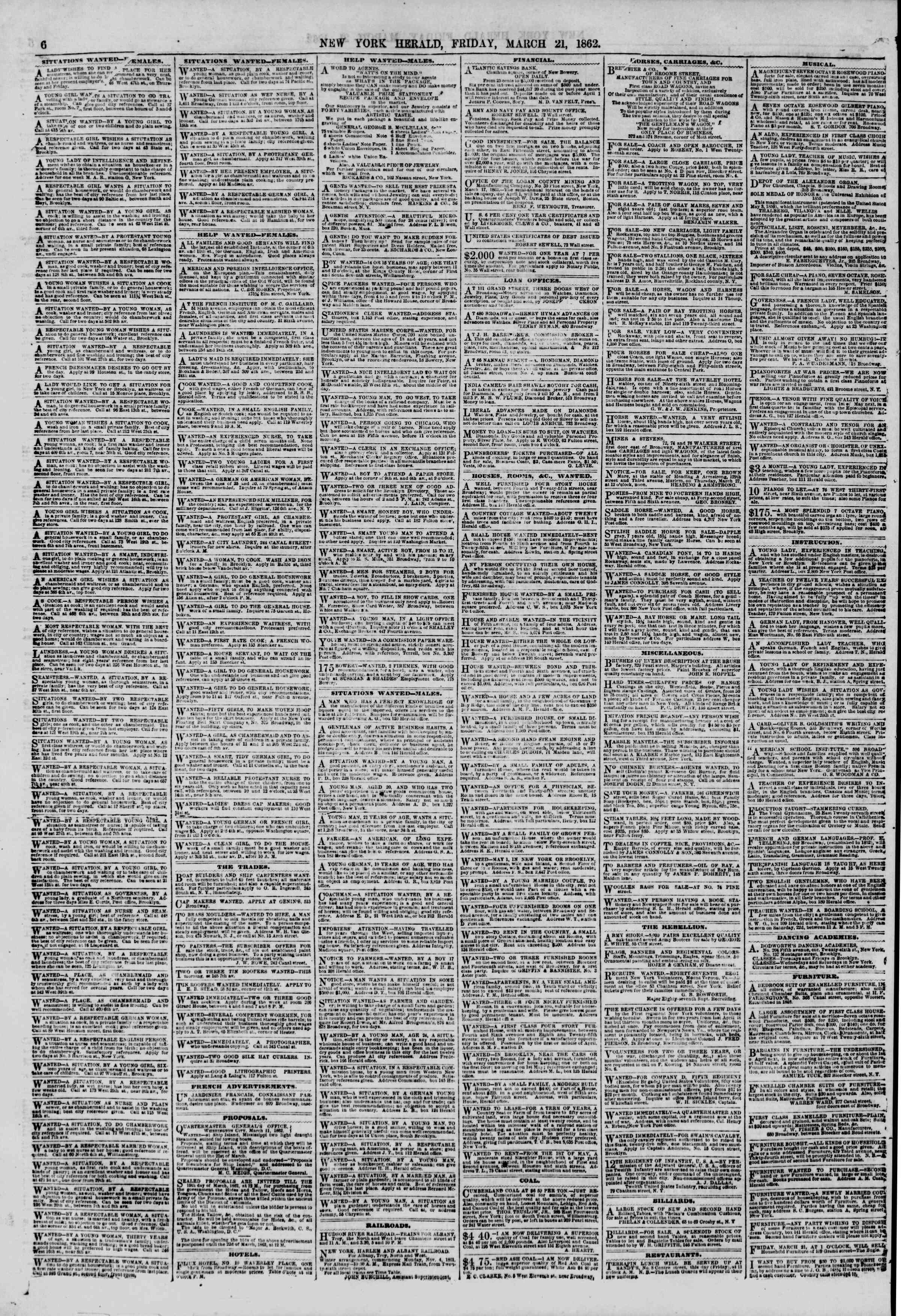 Newspaper of The New York Herald dated March 21, 1862 Page 6