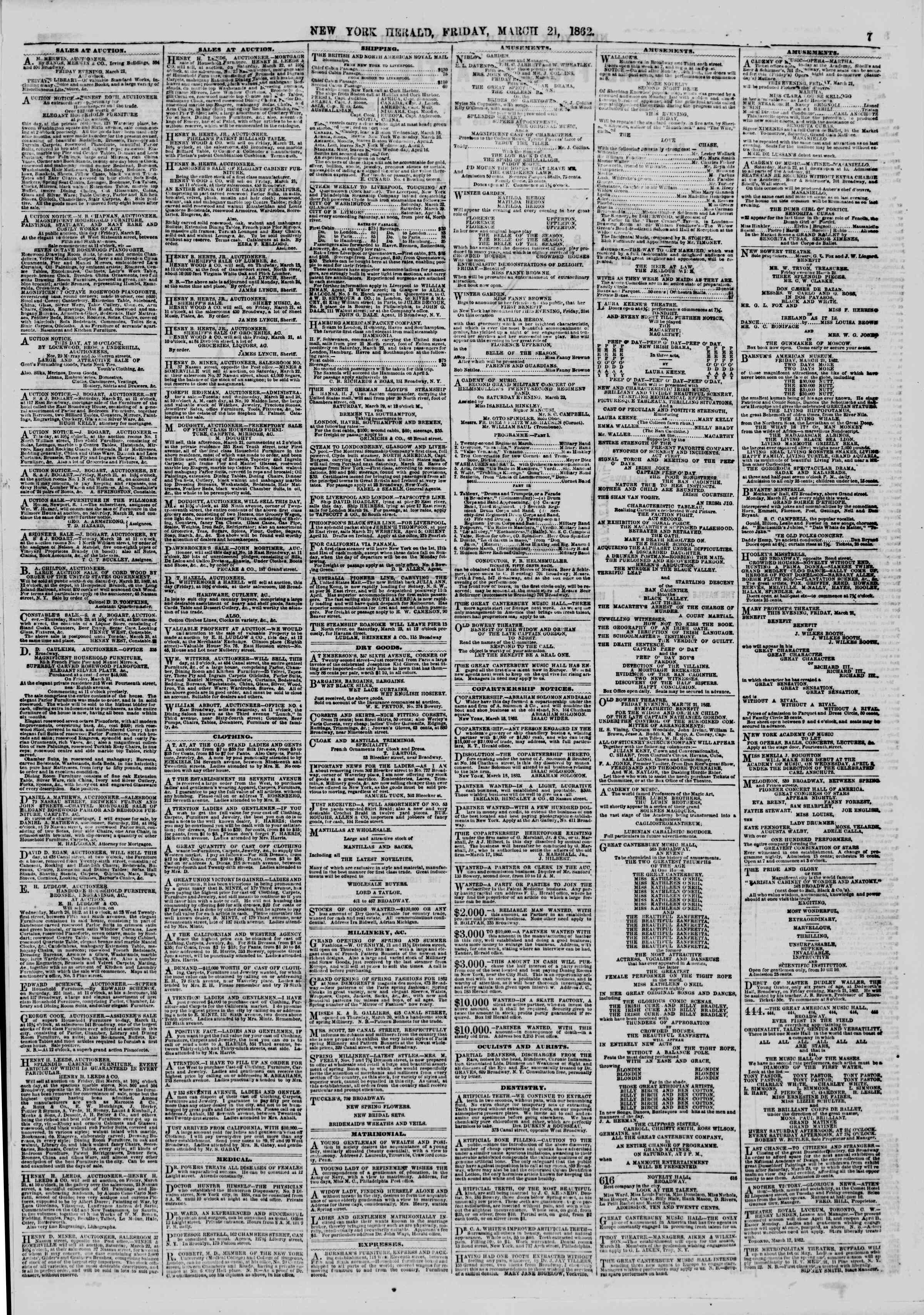 21 Mart 1862 tarihli The New York Herald Gazetesi Sayfa 7