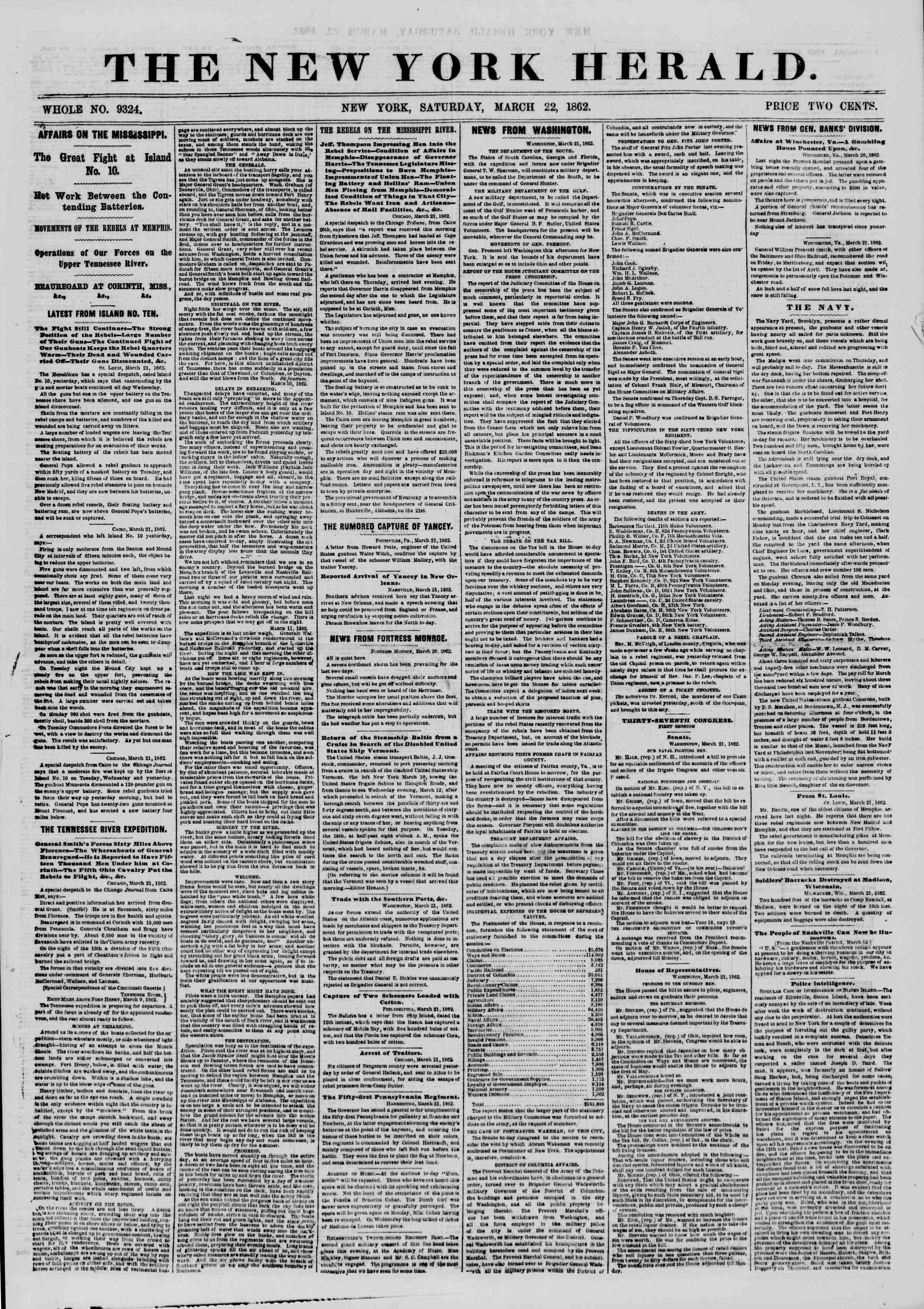 Newspaper of The New York Herald dated March 22, 1862 Page 1