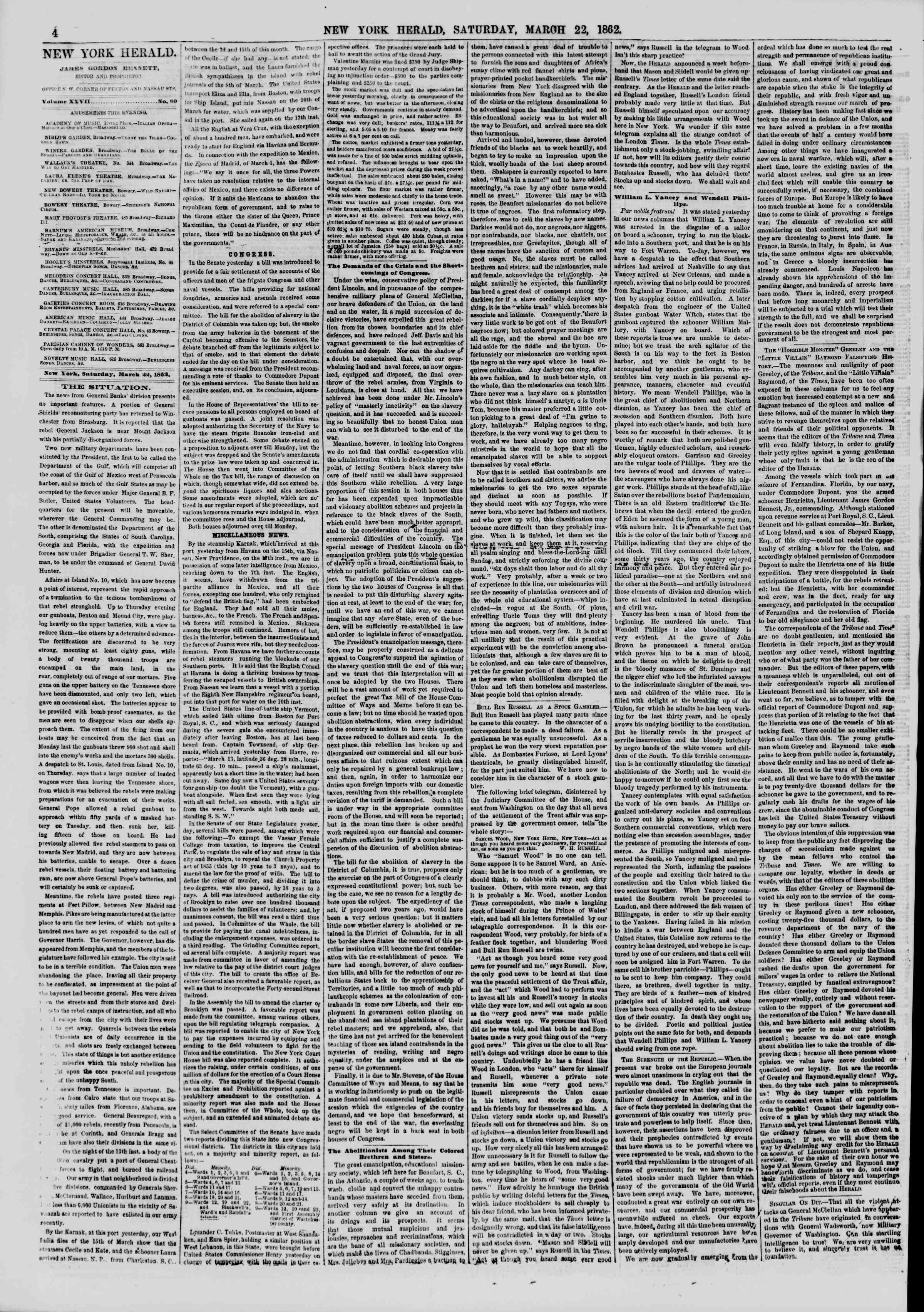 Newspaper of The New York Herald dated March 22, 1862 Page 4