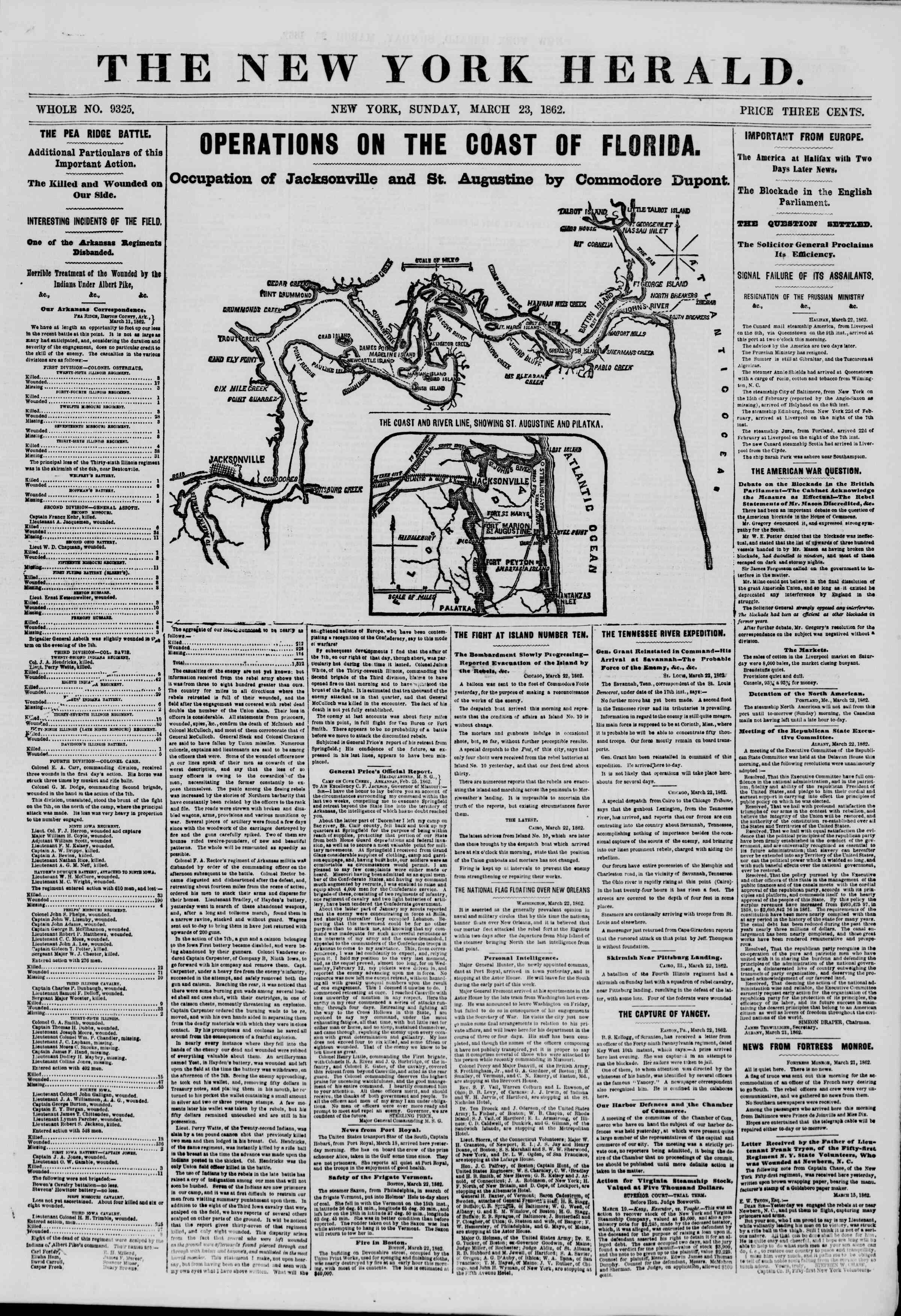 23 Mart 1862 tarihli The New York Herald Gazetesi Sayfa 1