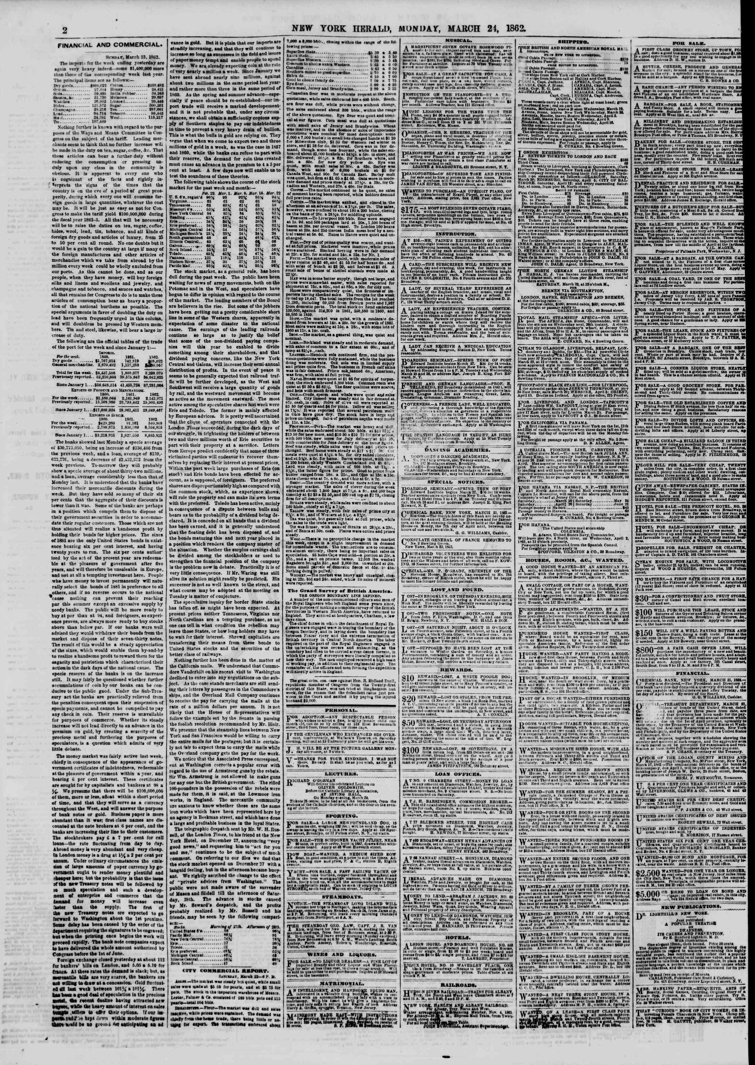 24 Mart 1862 tarihli The New York Herald Gazetesi Sayfa 2