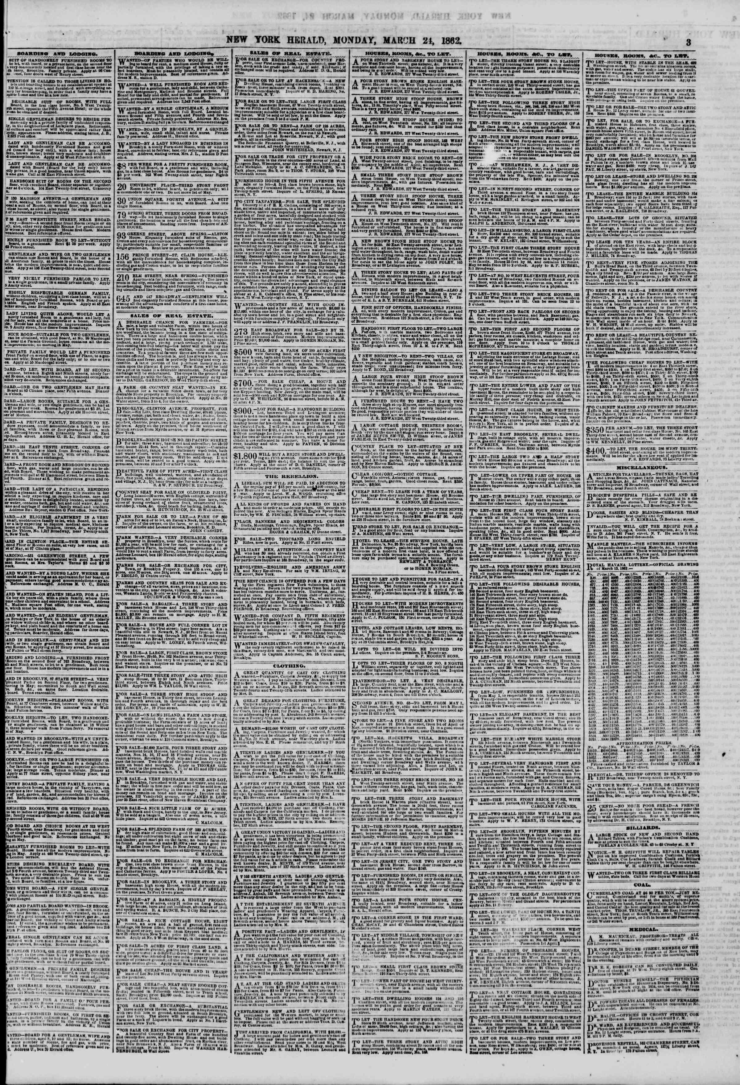 24 Mart 1862 tarihli The New York Herald Gazetesi Sayfa 3