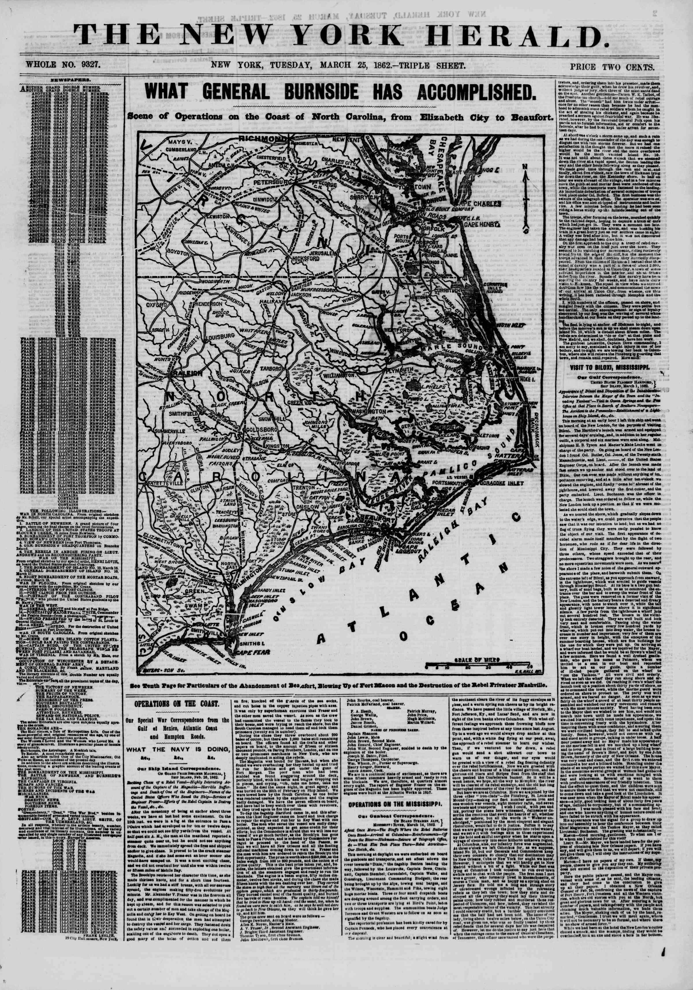 Newspaper of The New York Herald dated March 25, 1862 Page 1