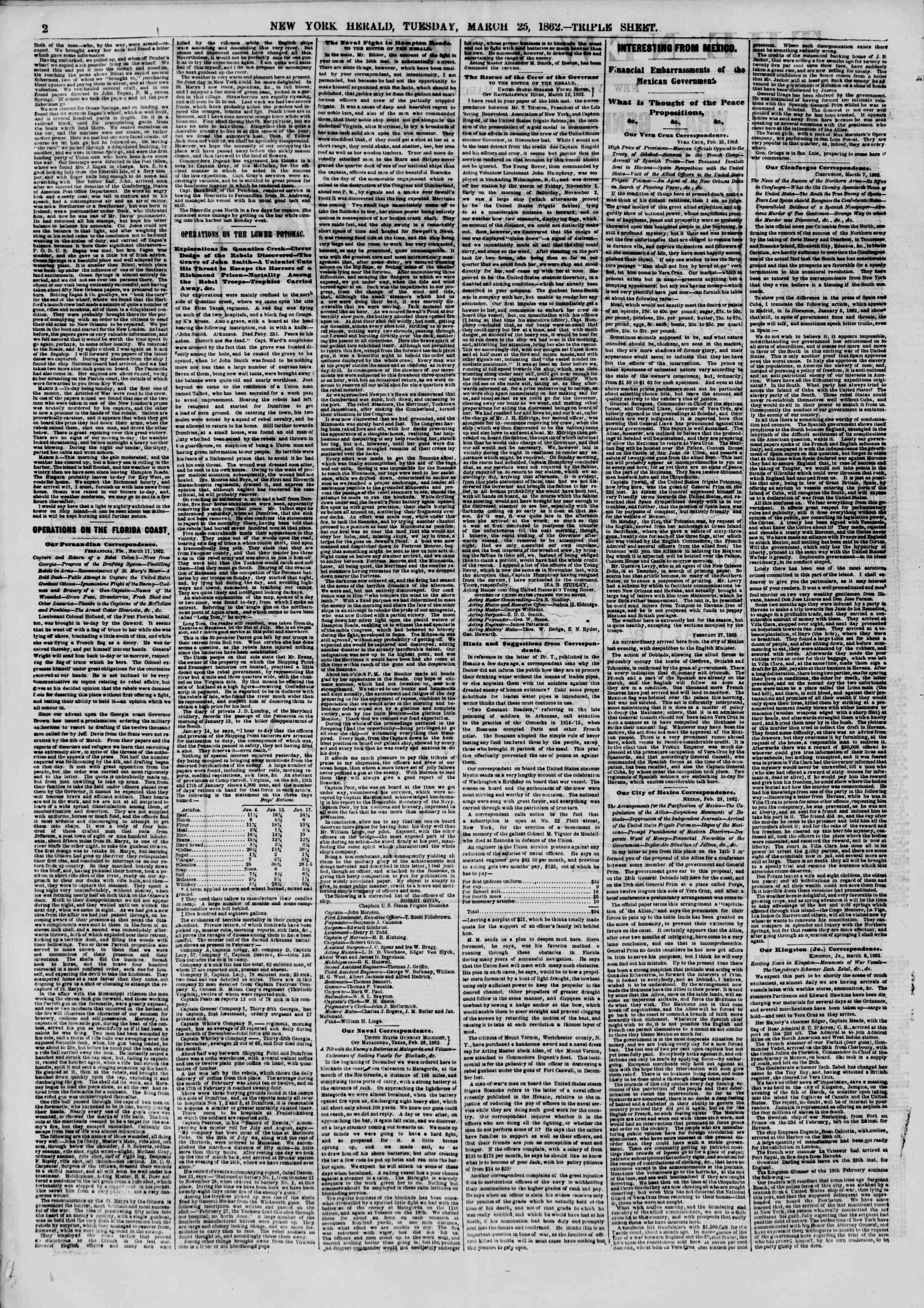 Newspaper of The New York Herald dated March 25, 1862 Page 2