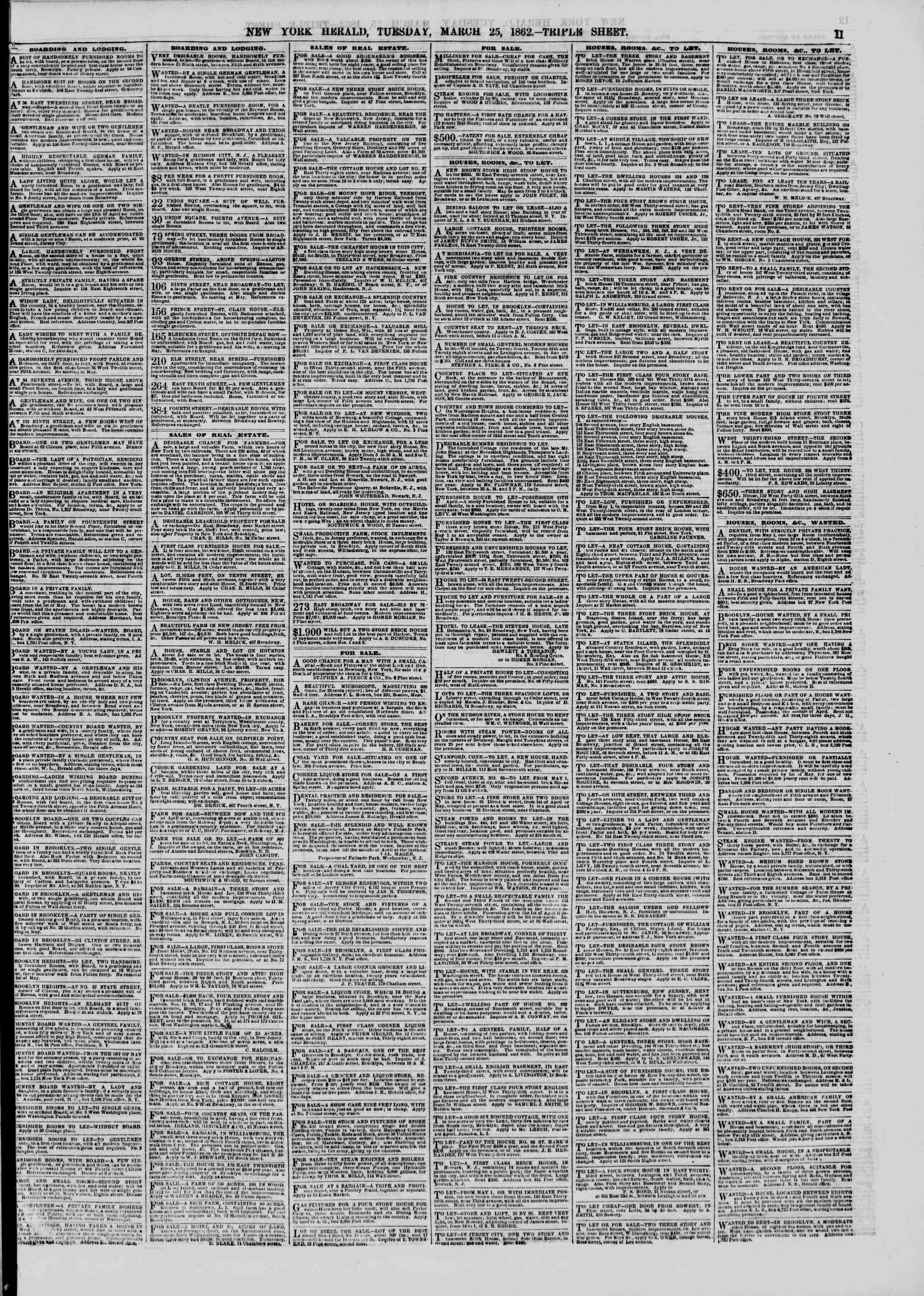Newspaper of The New York Herald dated March 25, 1862 Page 11