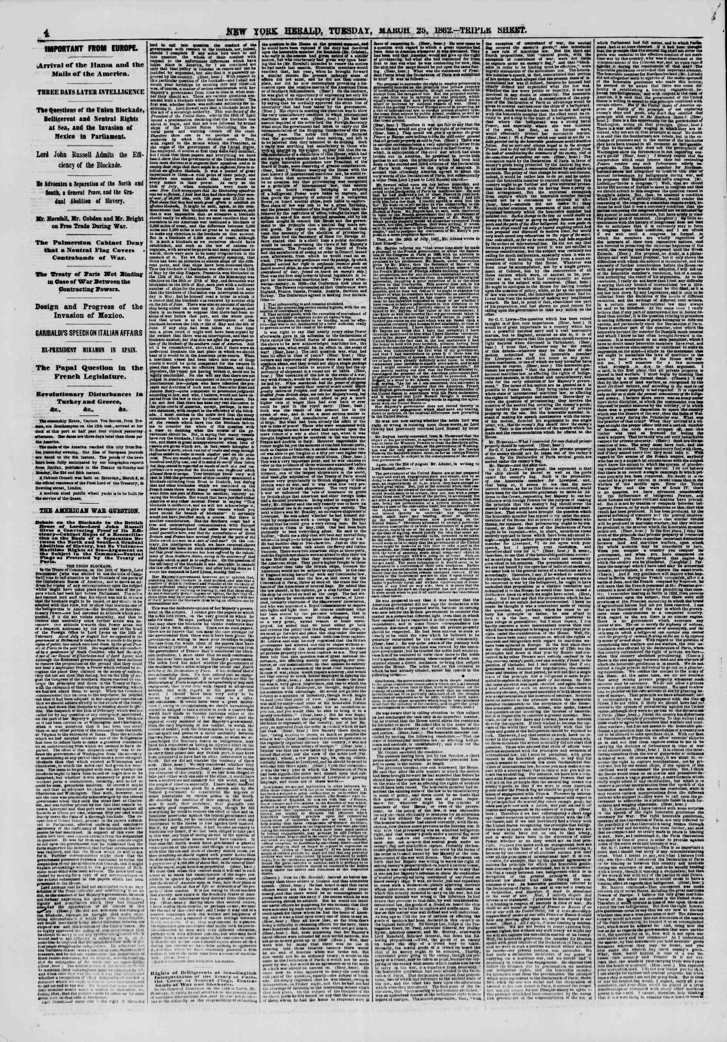 Newspaper of The New York Herald dated March 25, 1862 Page 4
