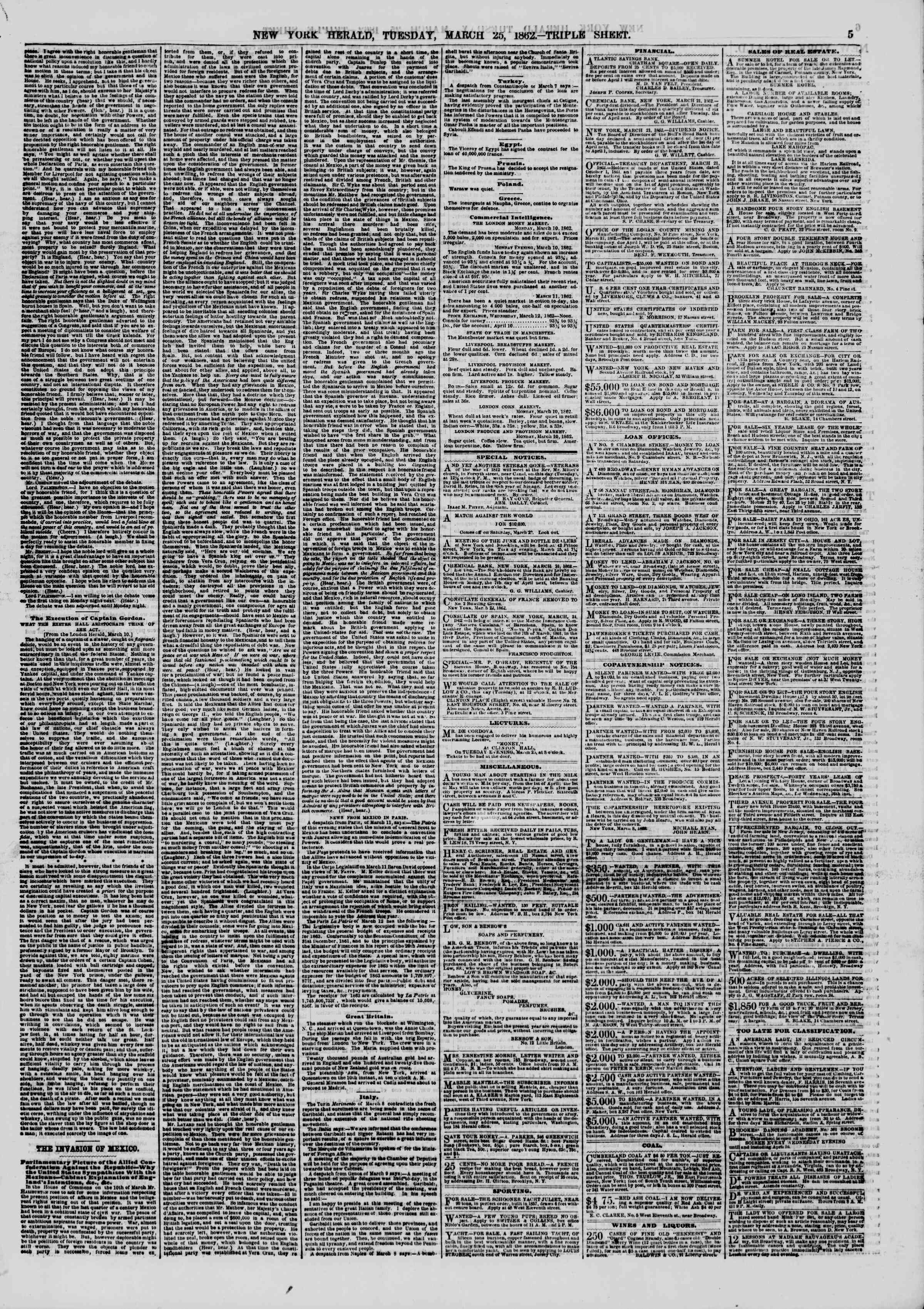 Newspaper of The New York Herald dated March 25, 1862 Page 5
