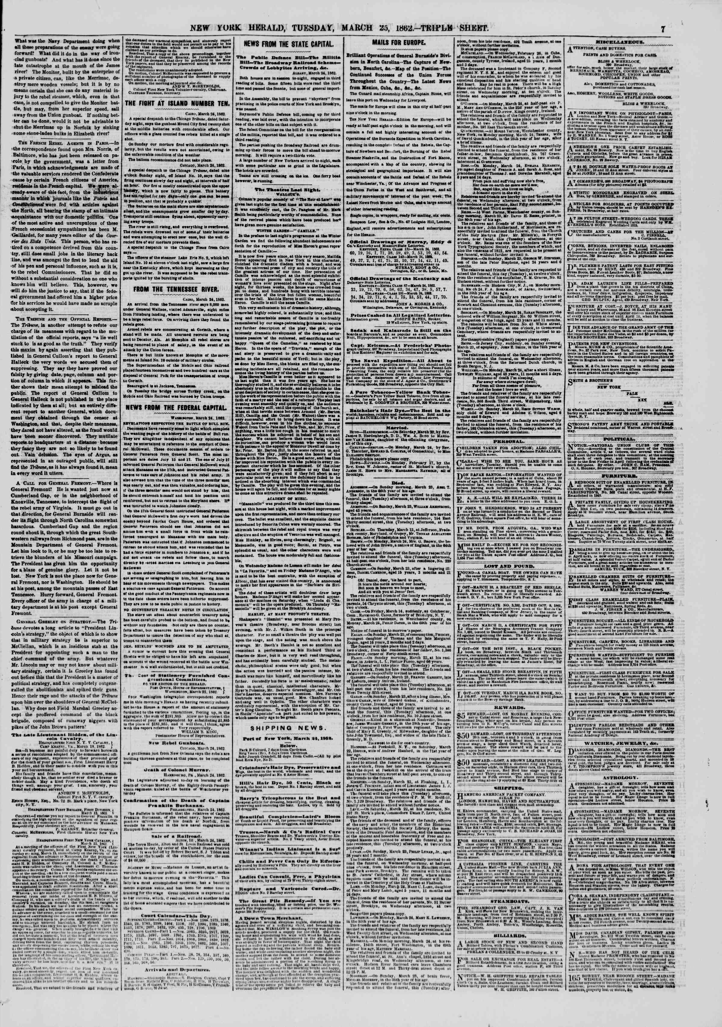 Newspaper of The New York Herald dated March 25, 1862 Page 7