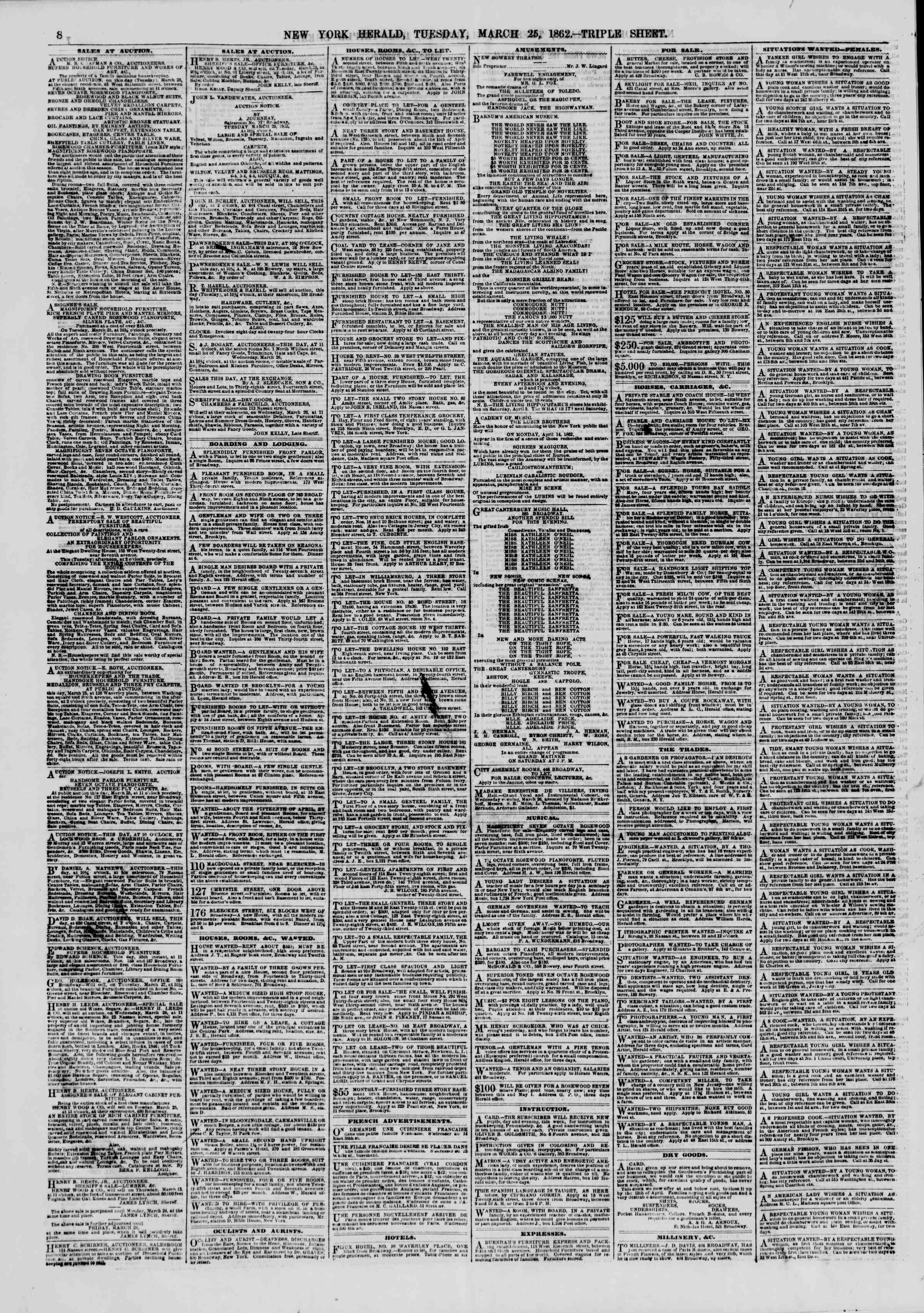 Newspaper of The New York Herald dated March 25, 1862 Page 8