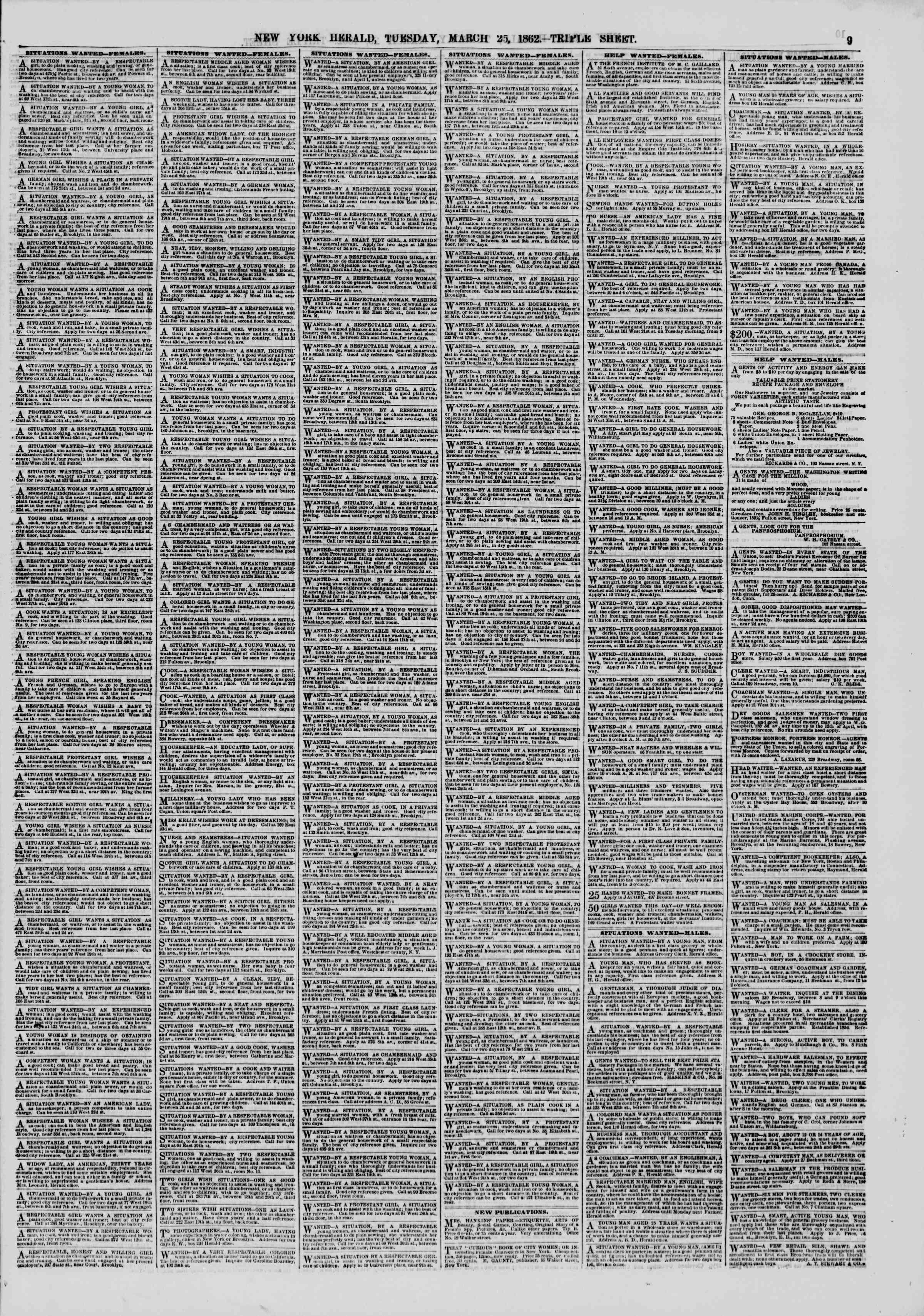 25 Mart 1862 tarihli The New York Herald Gazetesi Sayfa 9