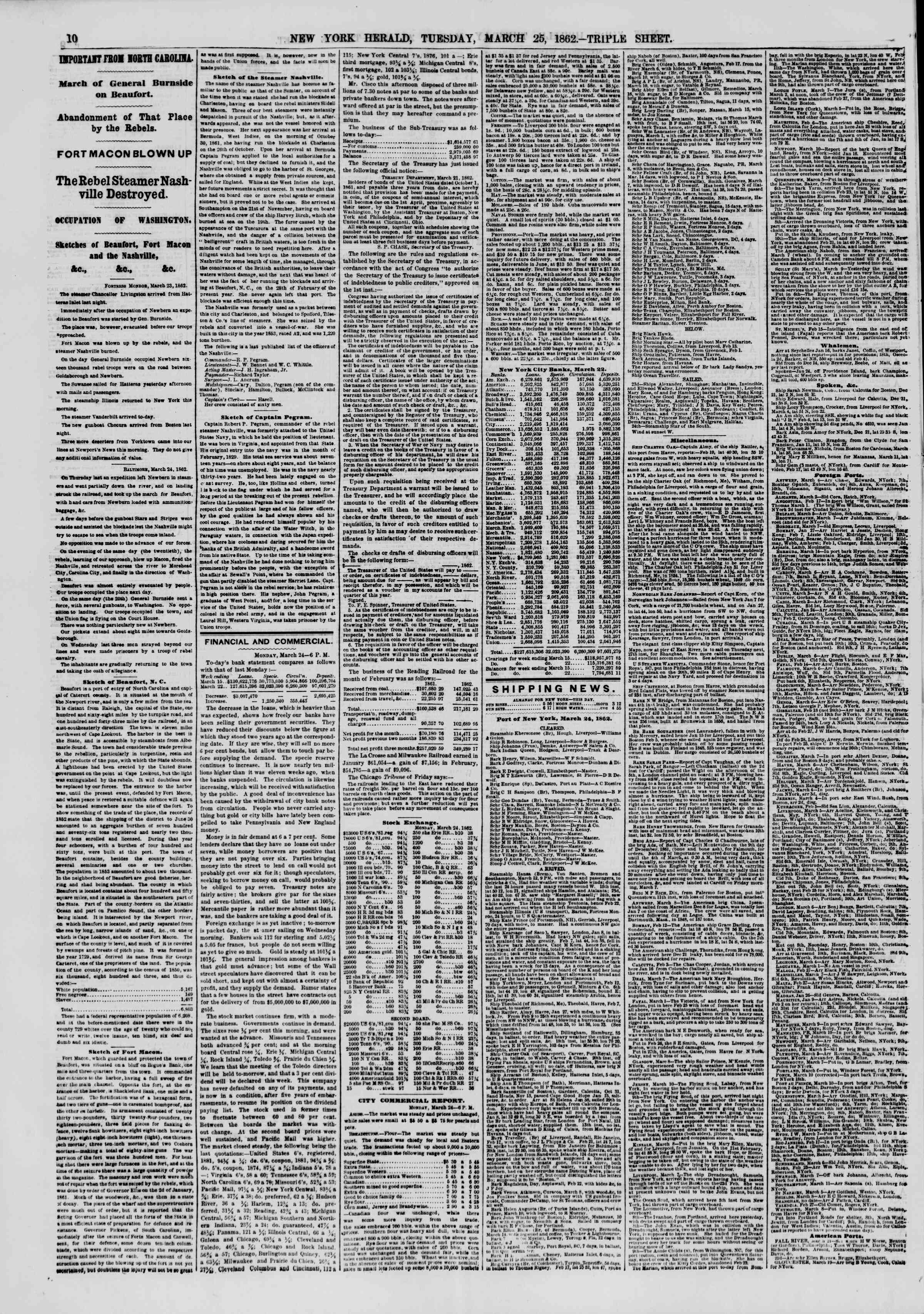 Newspaper of The New York Herald dated March 25, 1862 Page 10