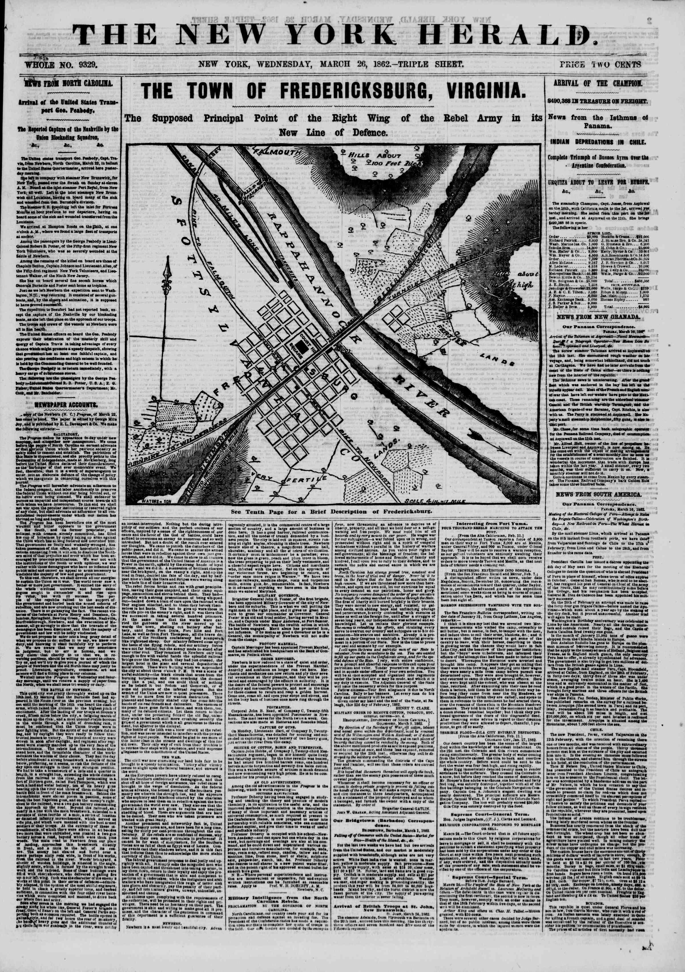 26 Mart 1862 tarihli The New York Herald Gazetesi Sayfa 1