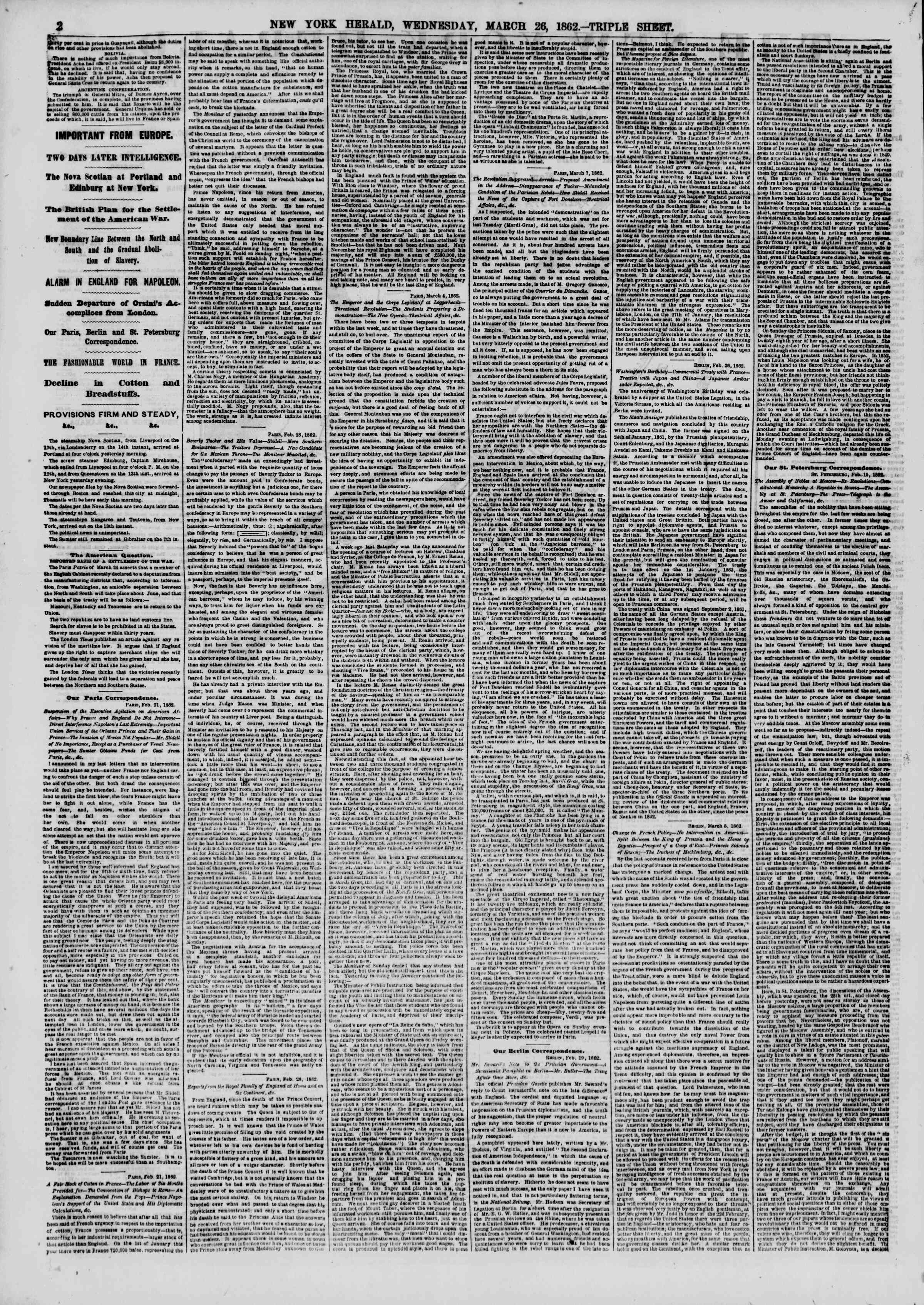 Newspaper of The New York Herald dated March 26, 1862 Page 2