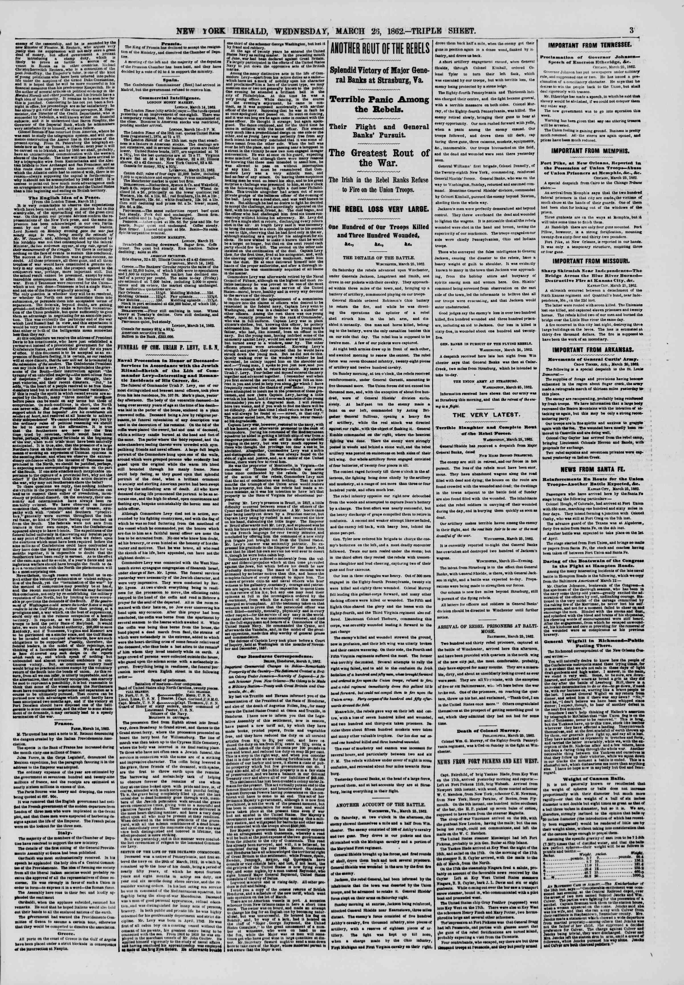 26 Mart 1862 tarihli The New York Herald Gazetesi Sayfa 3