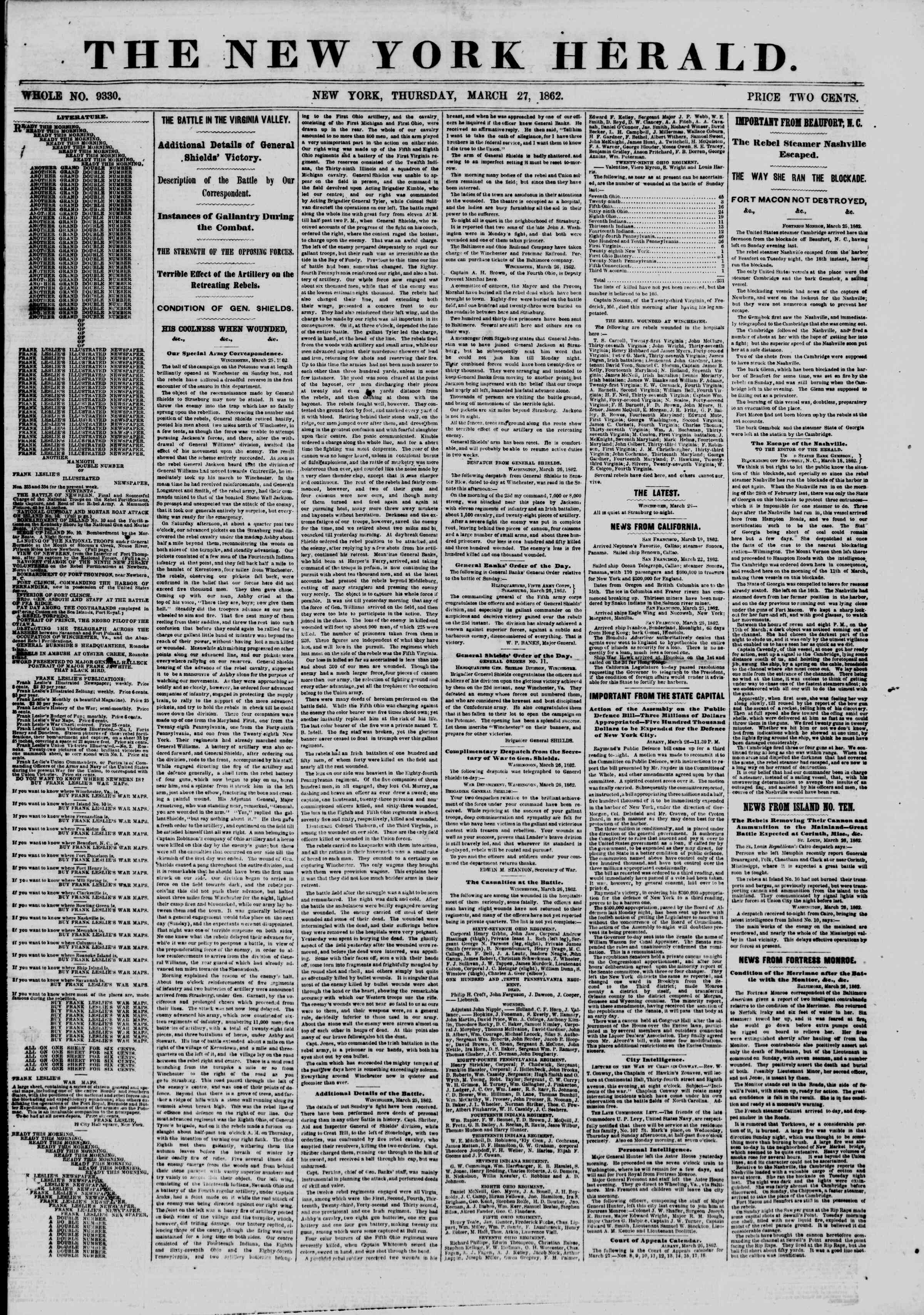 Newspaper of The New York Herald dated March 27, 1862 Page 1