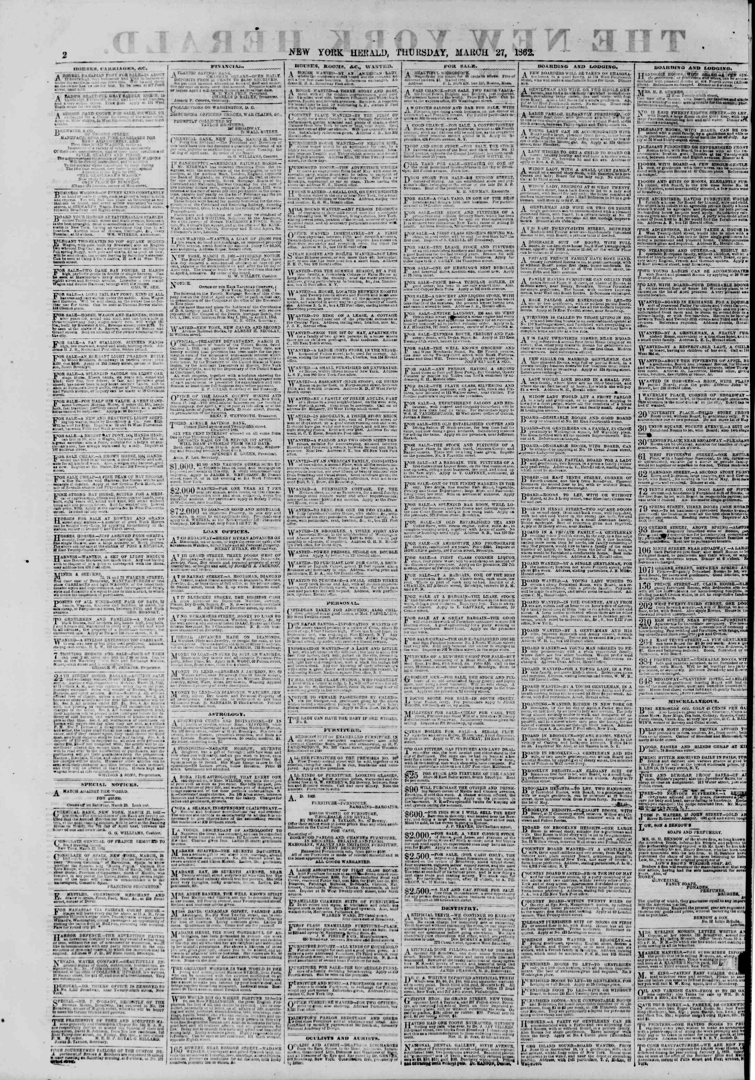 Newspaper of The New York Herald dated March 27, 1862 Page 2