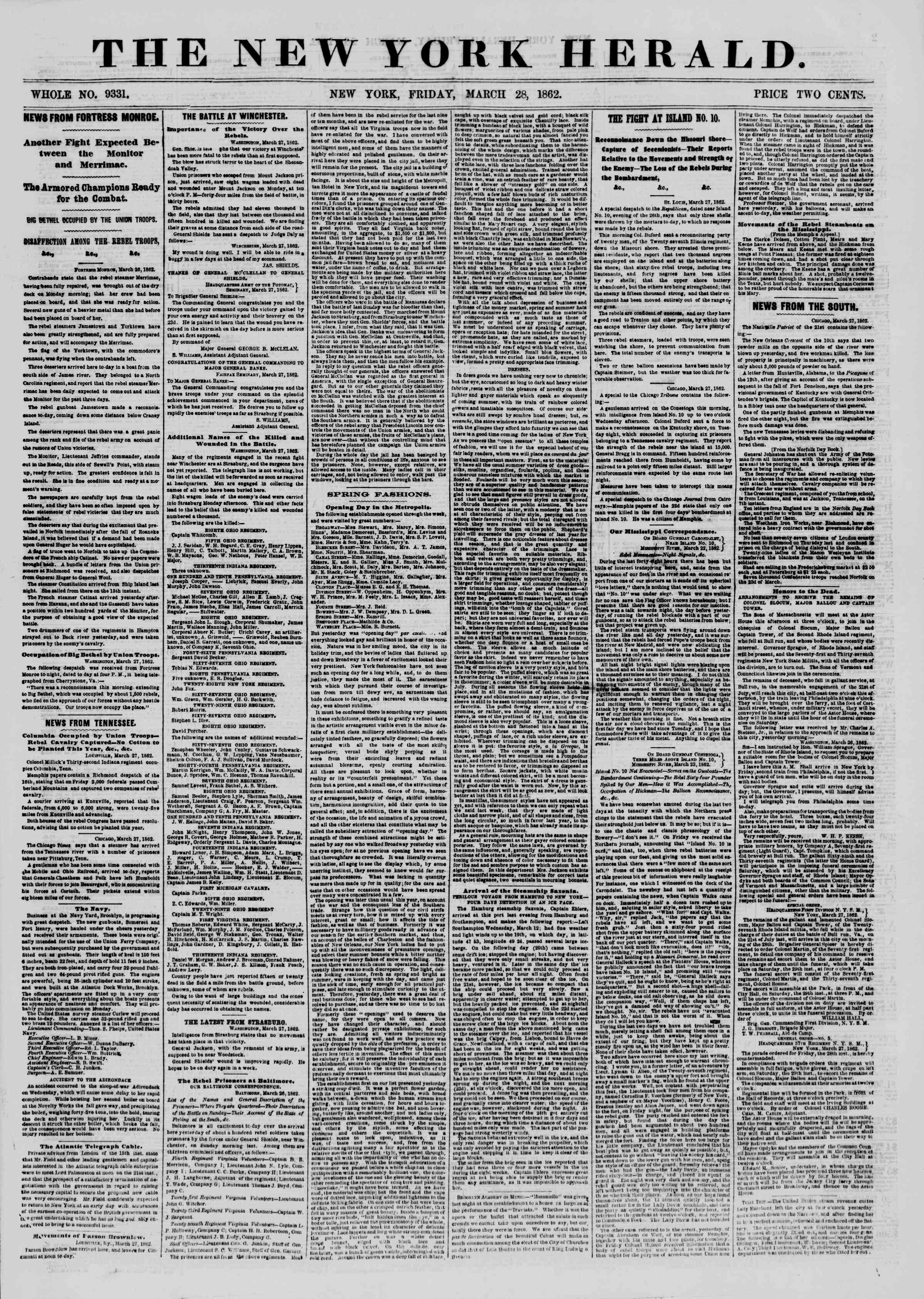 Newspaper of The New York Herald dated March 28, 1862 Page 1