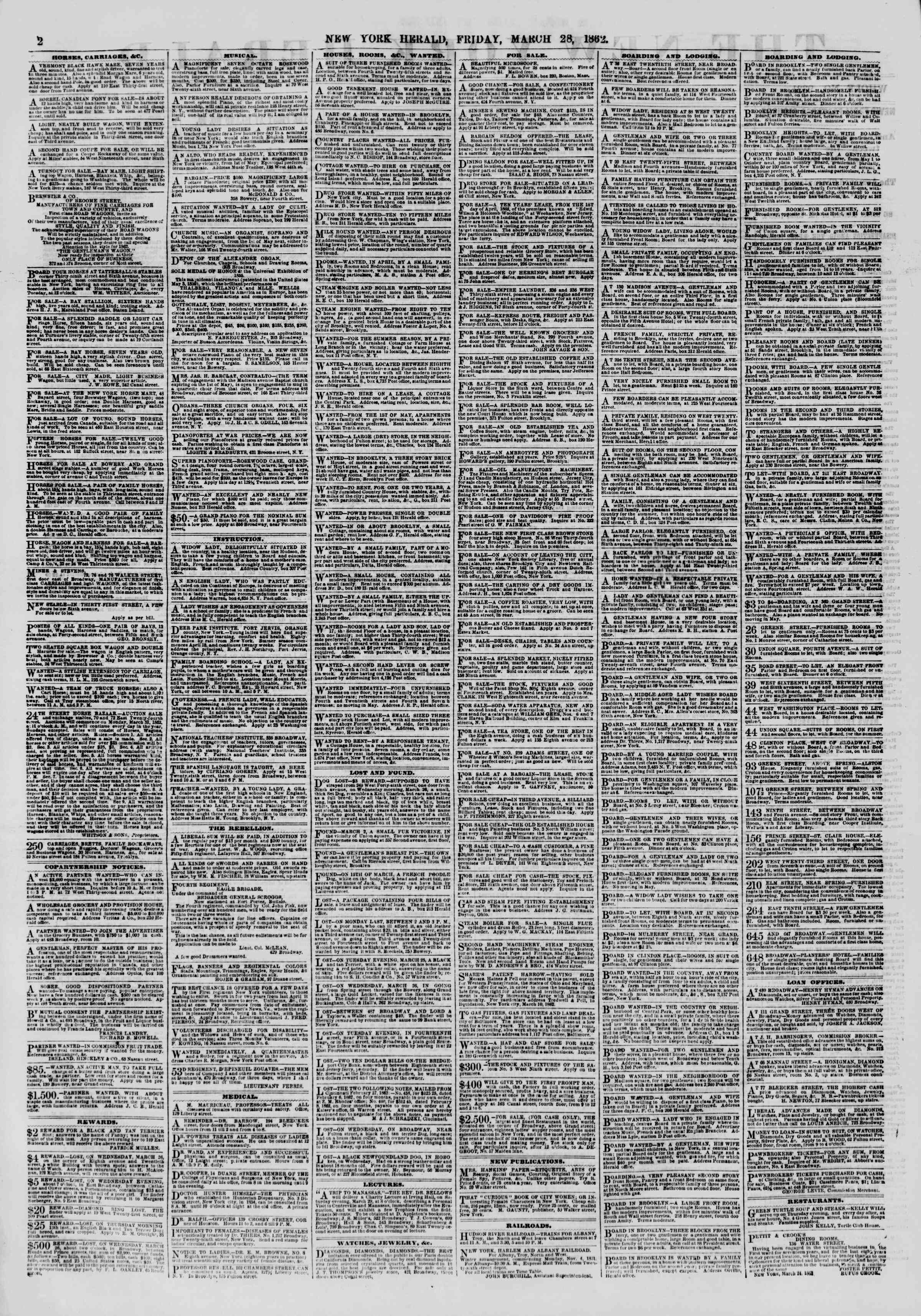 Newspaper of The New York Herald dated March 28, 1862 Page 2