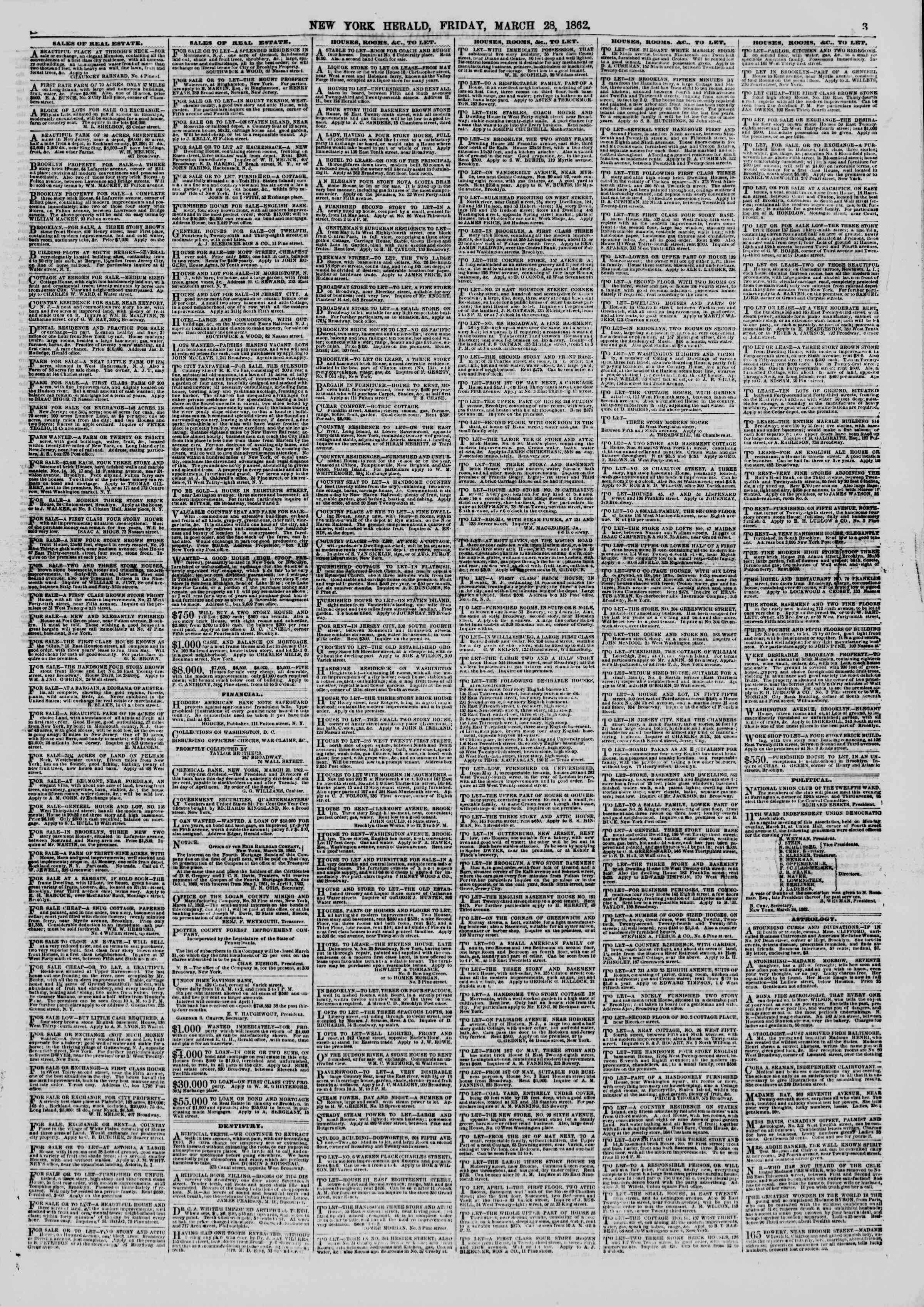 Newspaper of The New York Herald dated March 28, 1862 Page 3