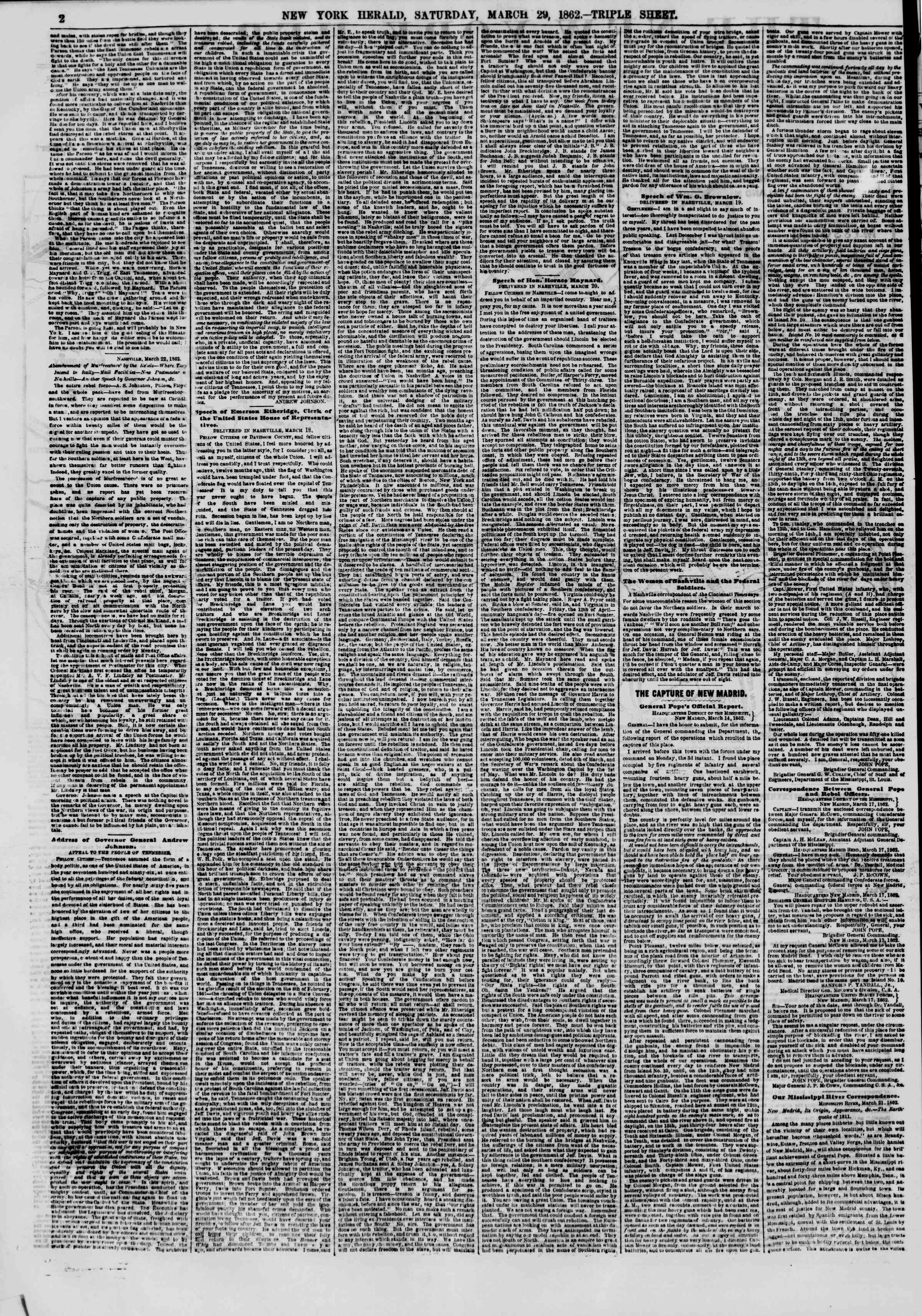 Newspaper of The New York Herald dated March 29, 1862 Page 2
