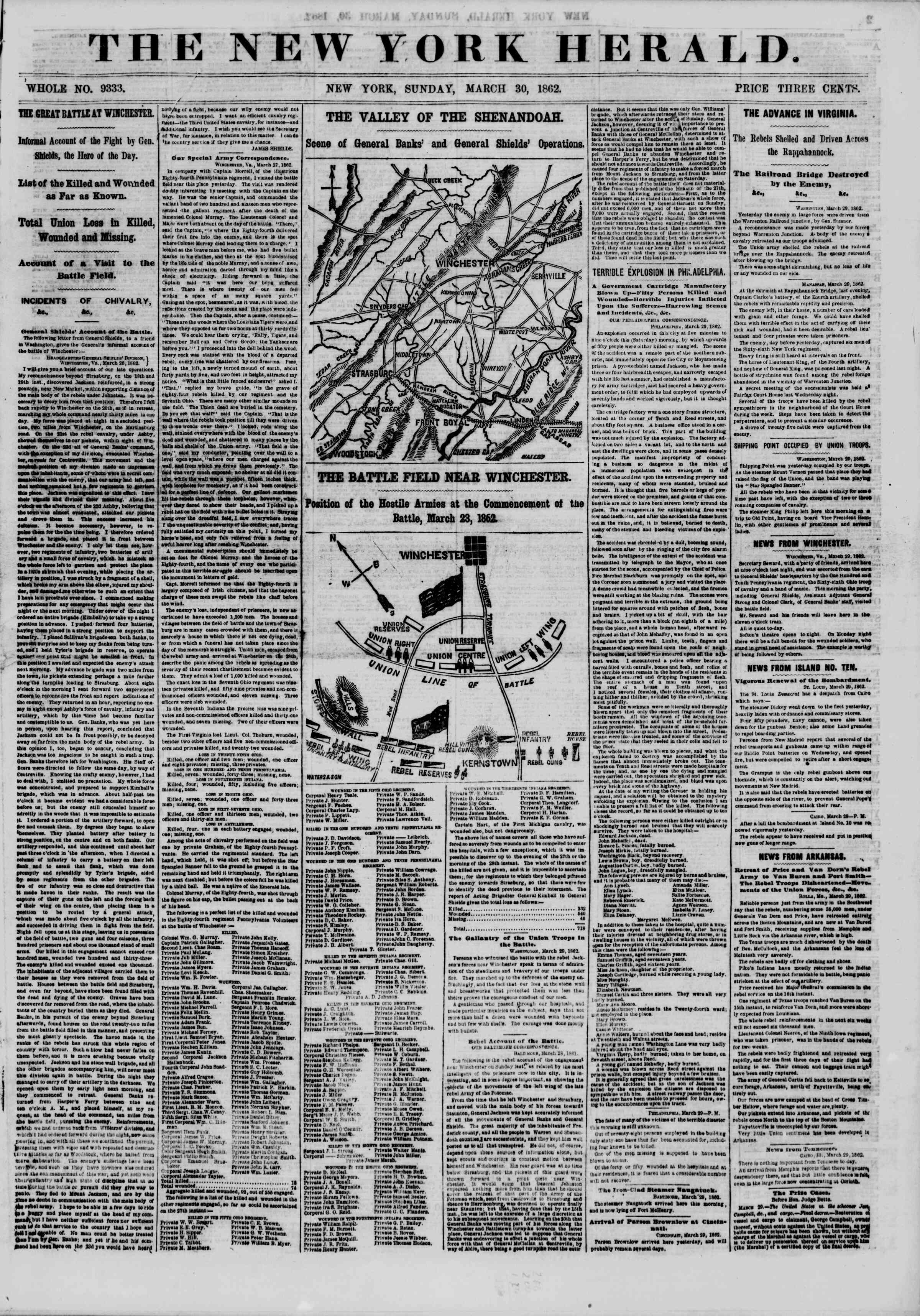 Newspaper of The New York Herald dated March 30, 1862 Page 1