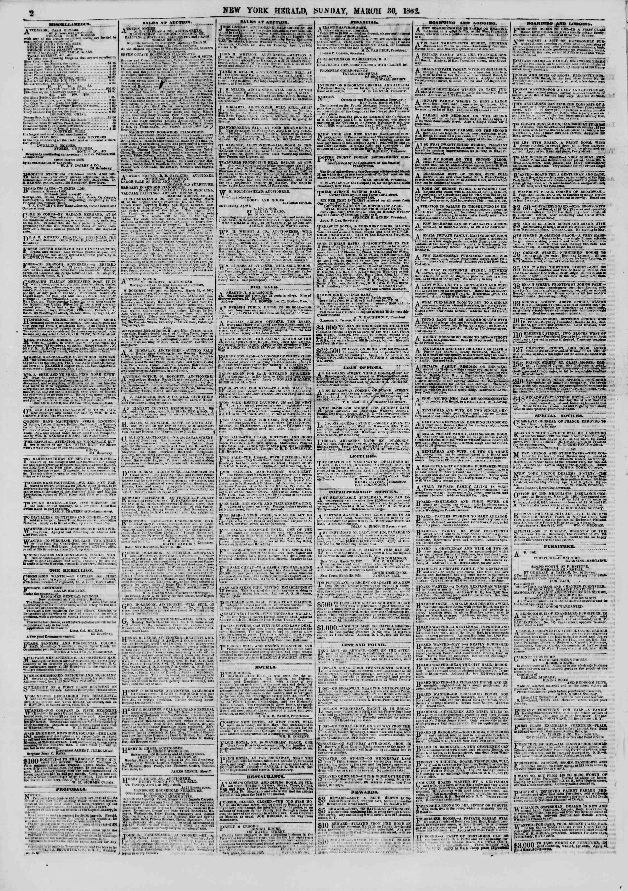 Newspaper of The New York Herald dated March 30, 1862 Page 2