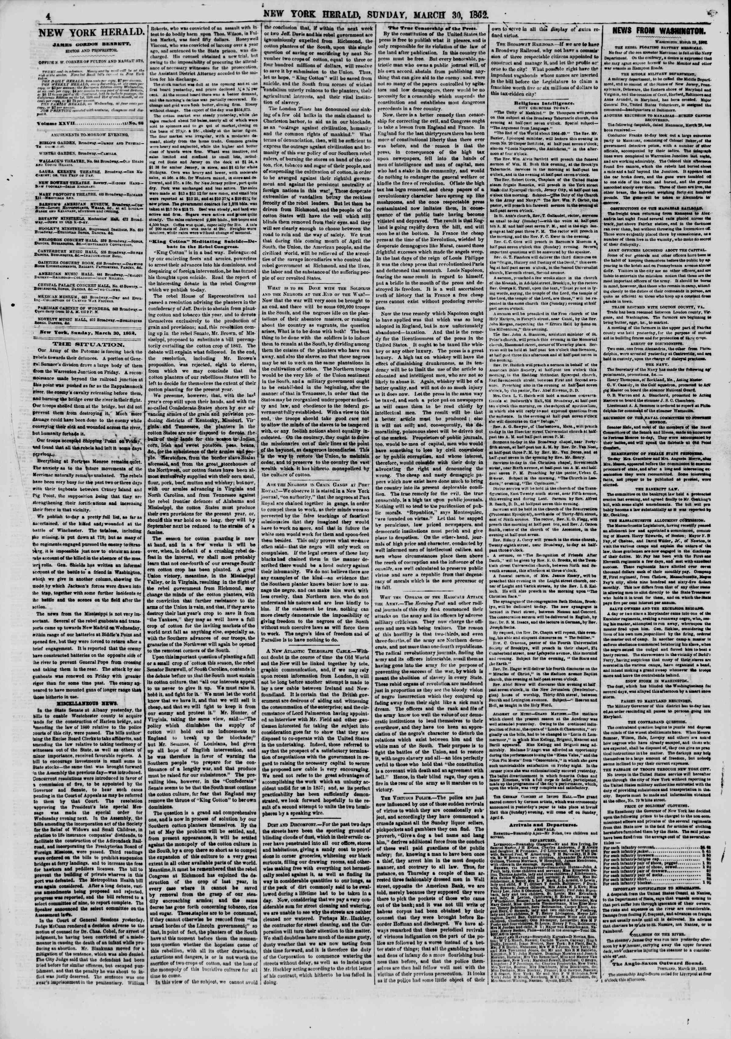 Newspaper of The New York Herald dated March 30, 1862 Page 4