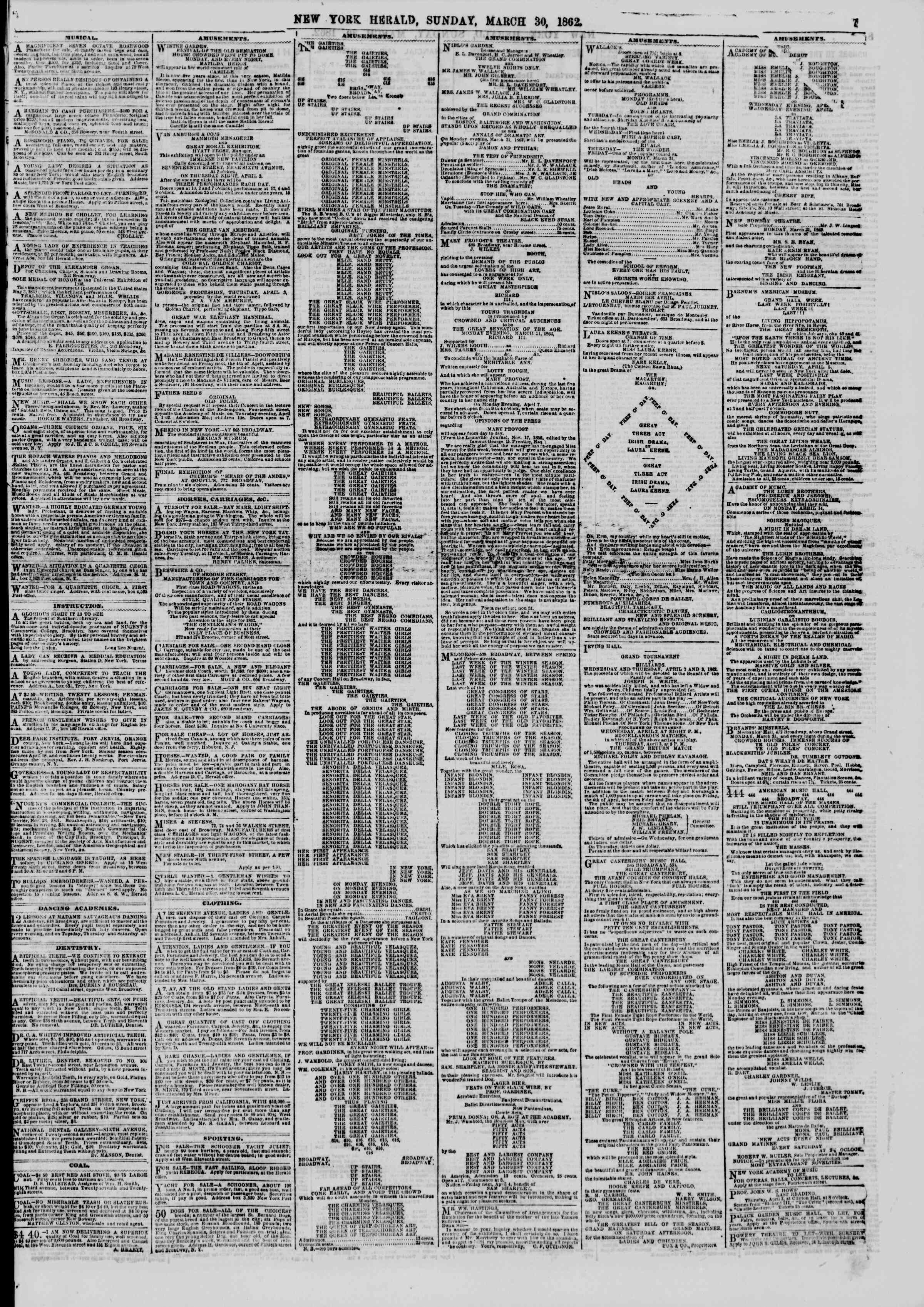 Newspaper of The New York Herald dated March 30, 1862 Page 7