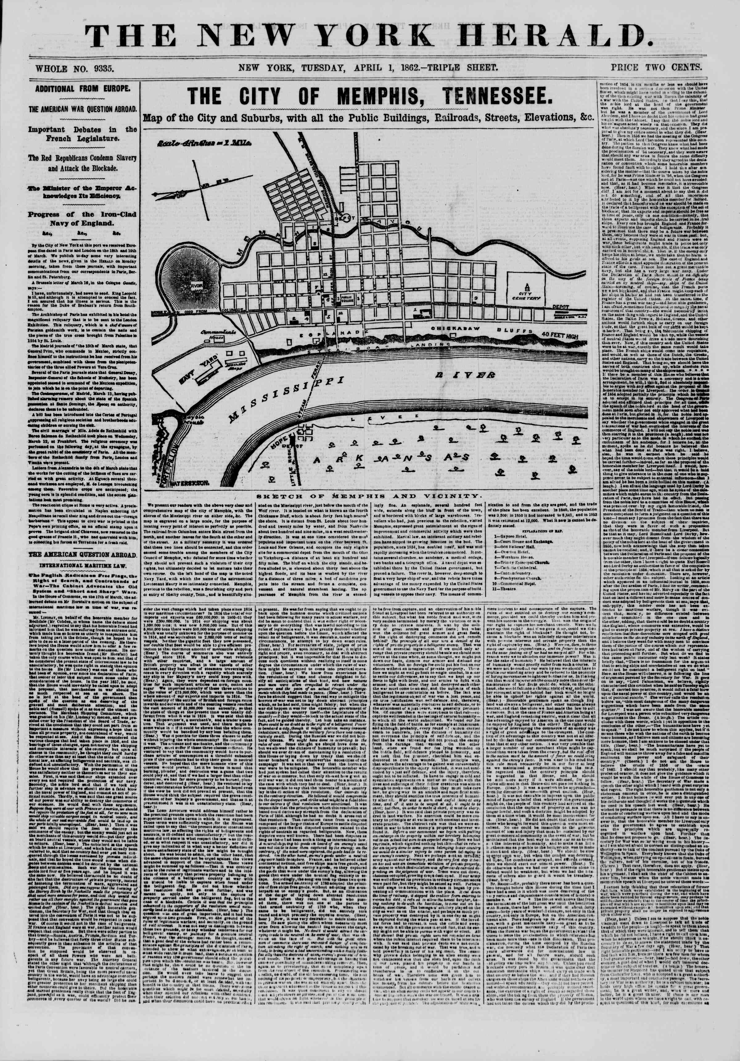 Newspaper of The New York Herald dated April 1, 1862 Page 1