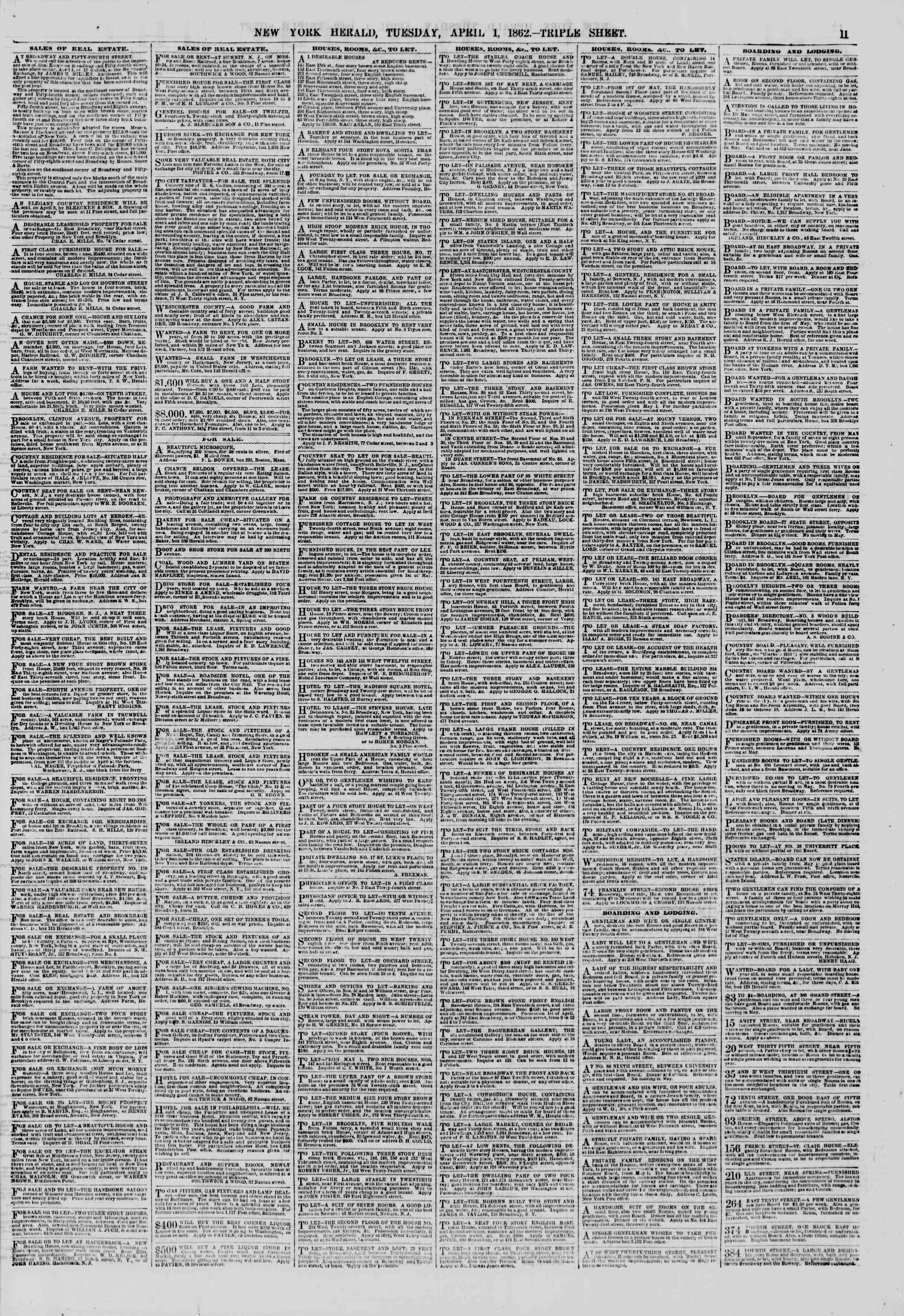 Newspaper of The New York Herald dated April 1, 1862 Page 11